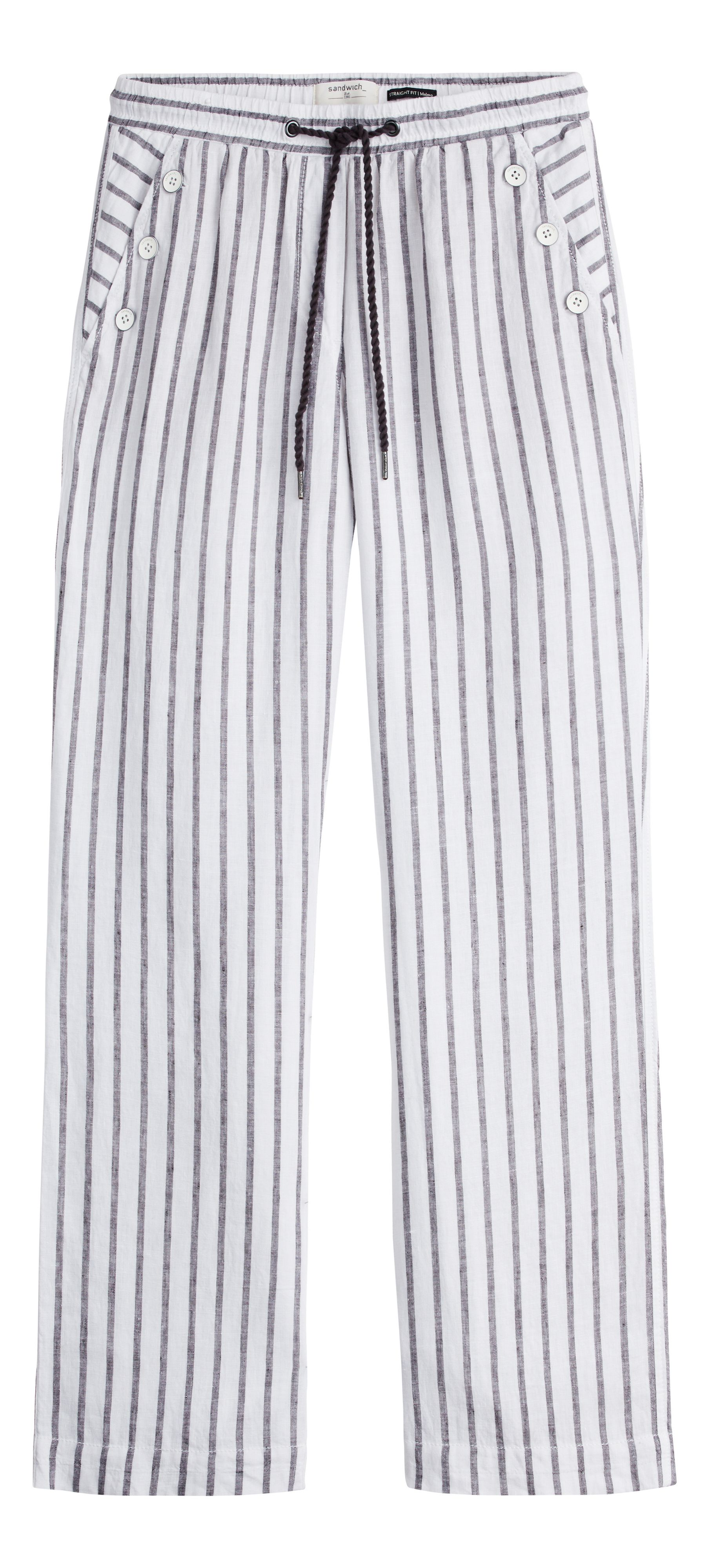 Sandwich Button detail stripe linen trousers, Black