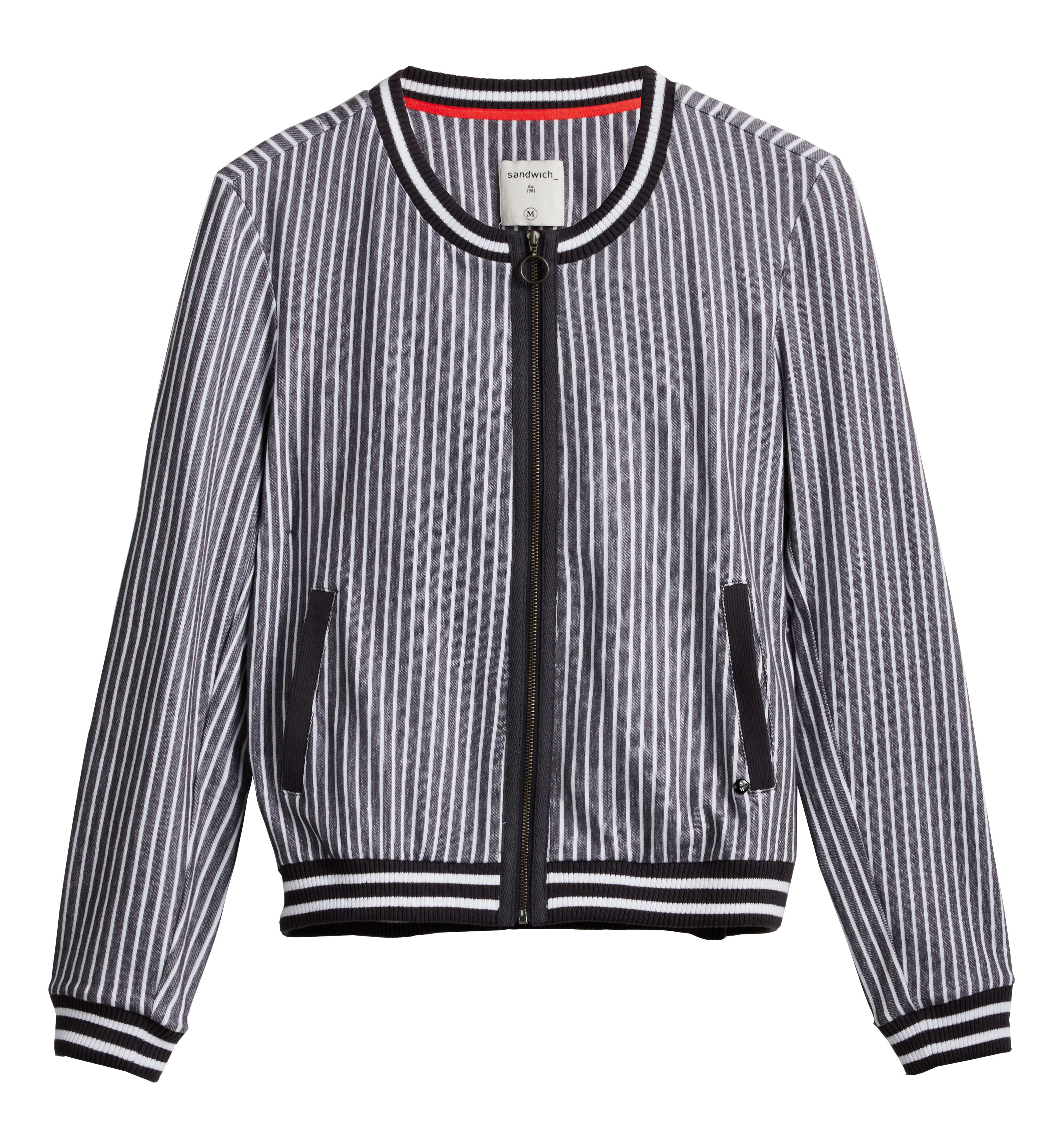 Sandwich Bomber stripe jacket, Grey