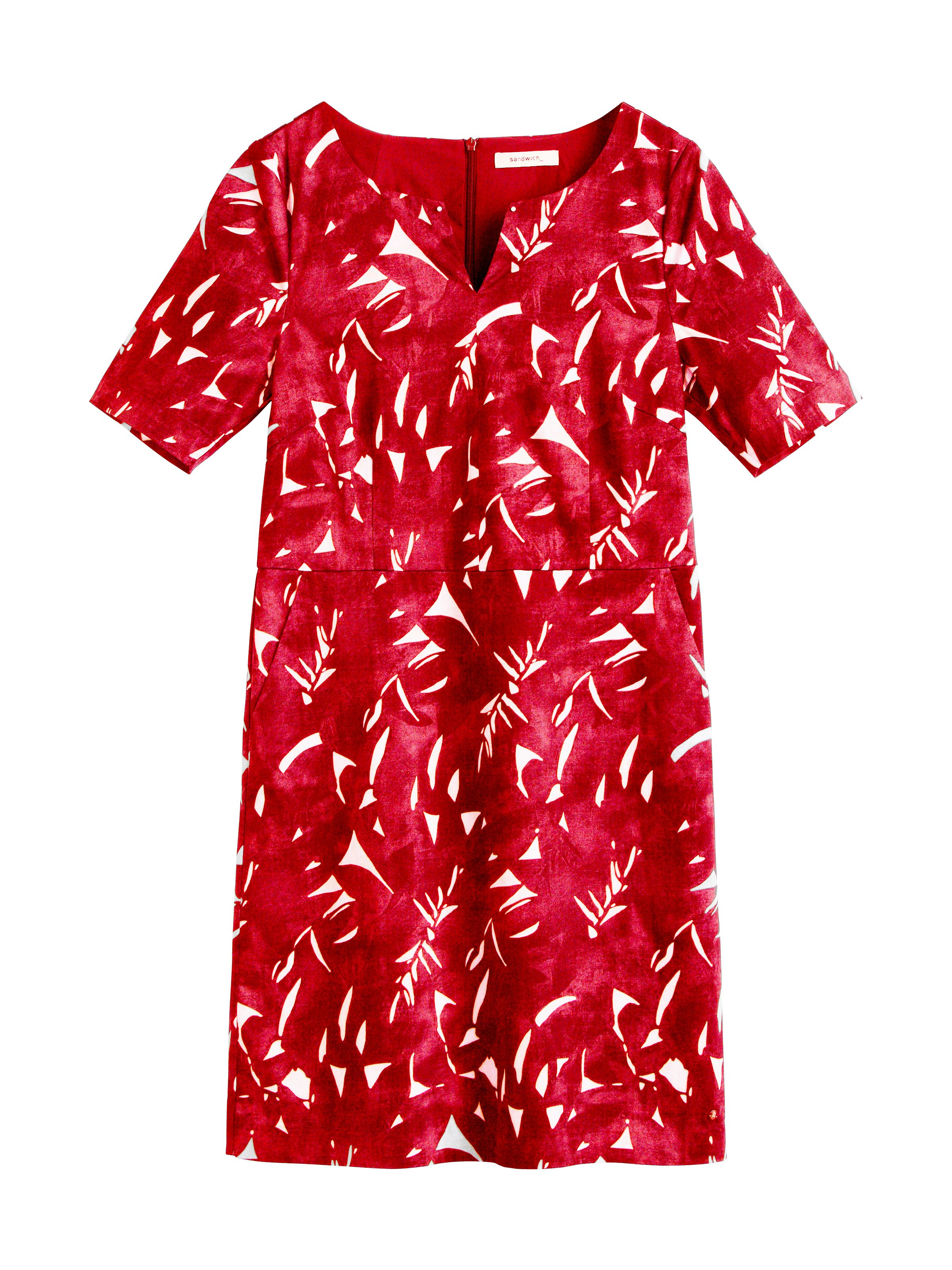Sandwich Graphic leaves dress, Red