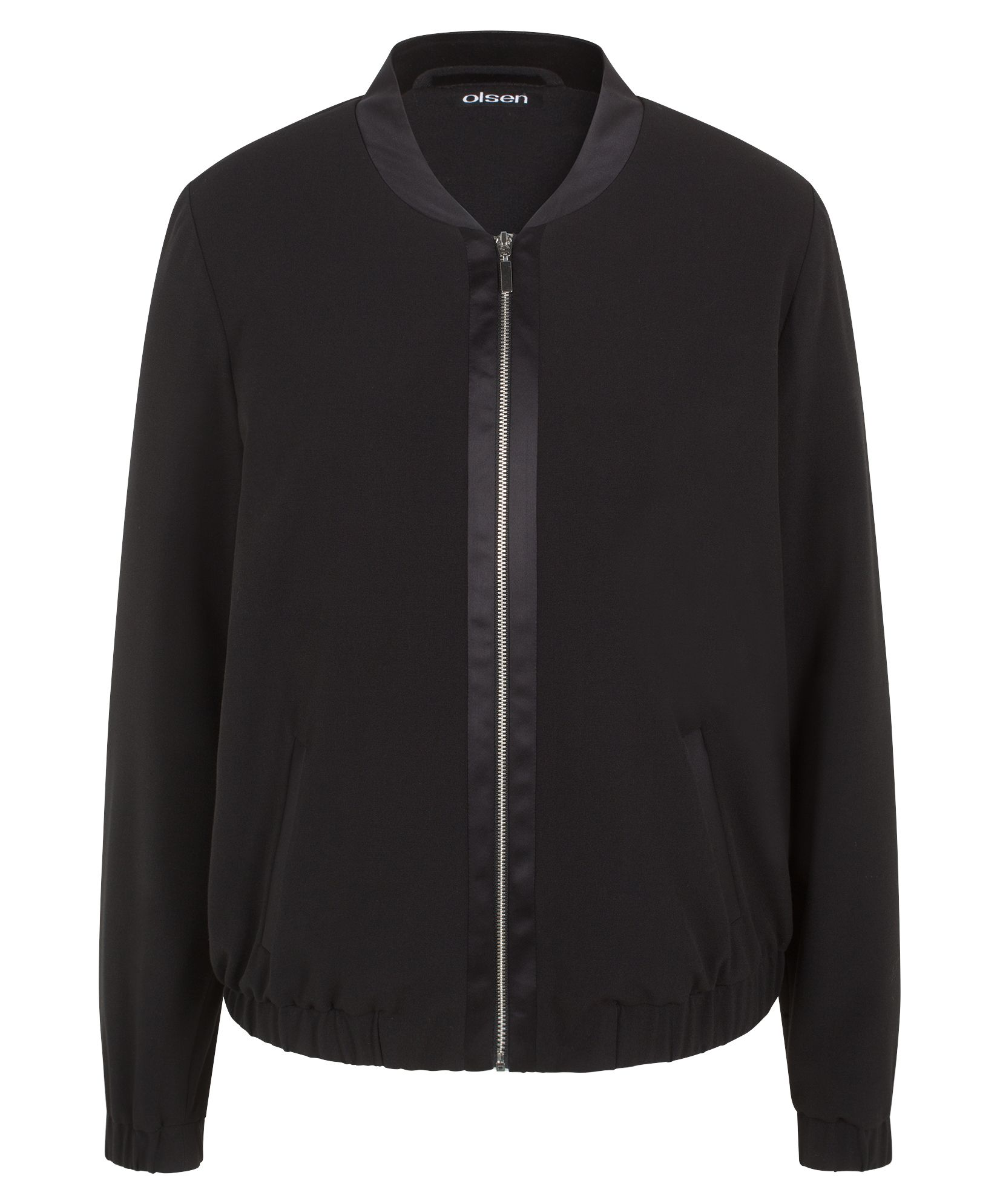 Olsen Satin detail bomber jacket, Black