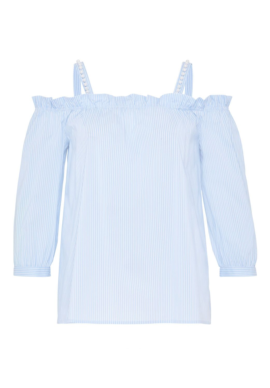 Hallhuber Blouse With Beaded Shoulder Straps, Light Blue