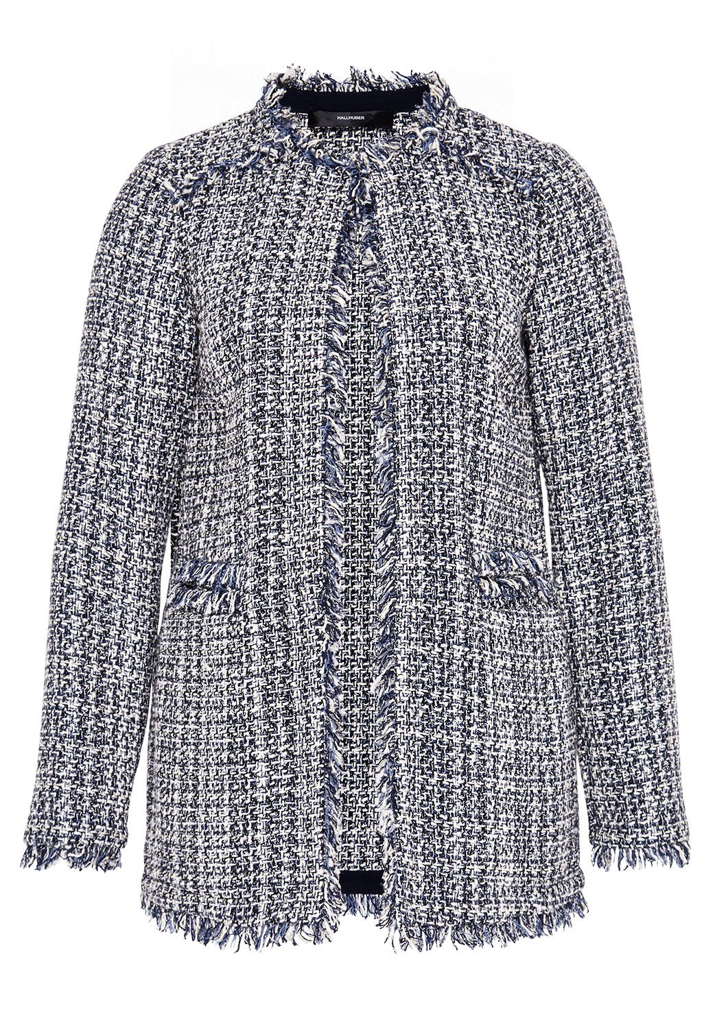 Hallhuber Bouclã Jacket With Frayed Edge, Indigo