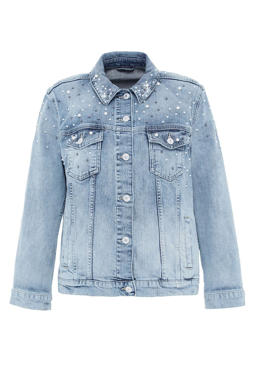Hallhuber Bead-Embellished Denim Jacket, Denim Light Wash