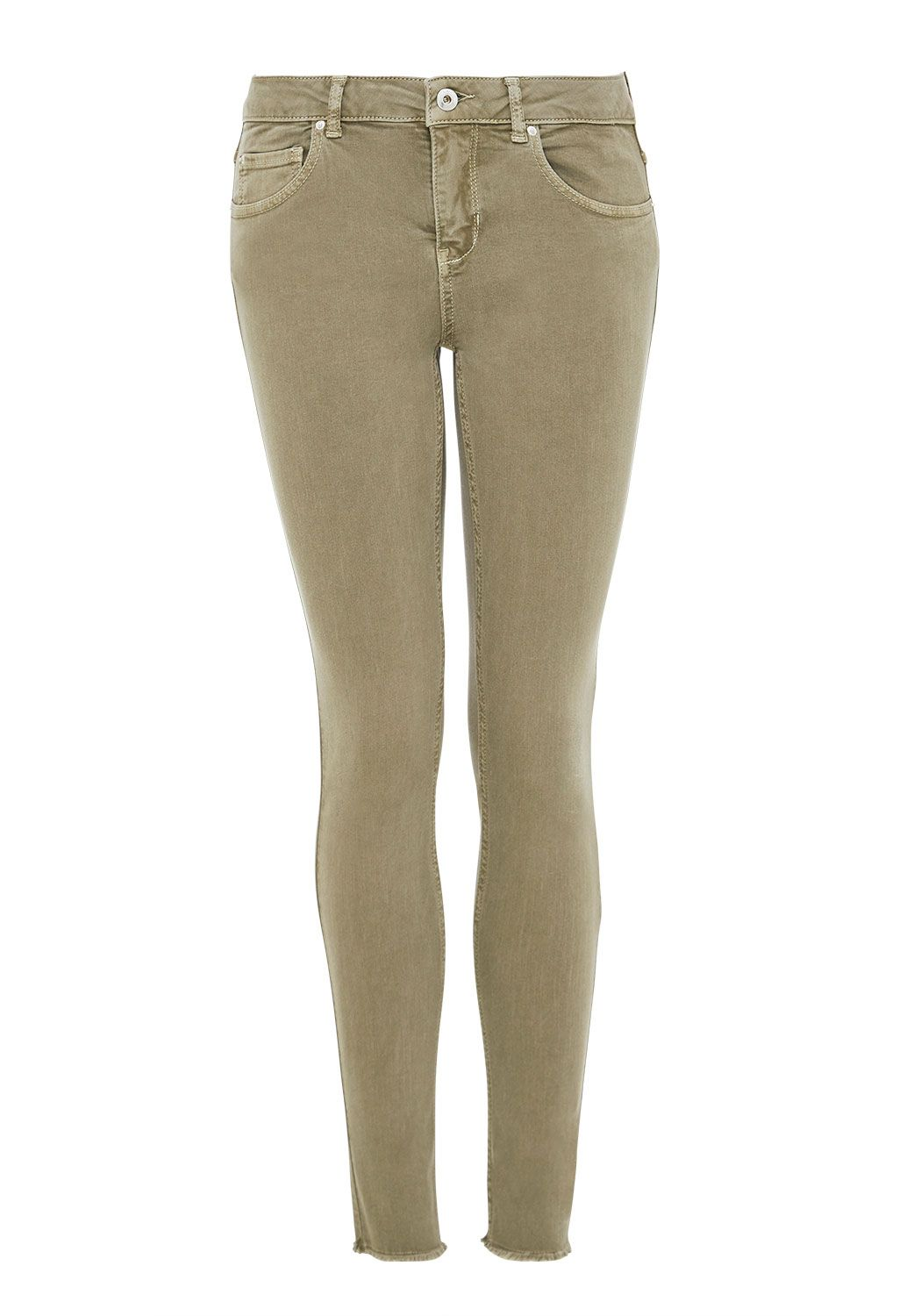 Hallhuber Coloured Skinny Jeans With Open Hems, Olive