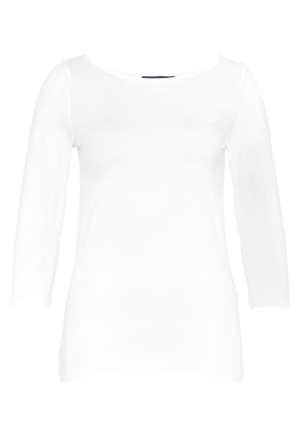 Hallhuber Boat Neck Top With Three-Quarter Sleeves, Off White
