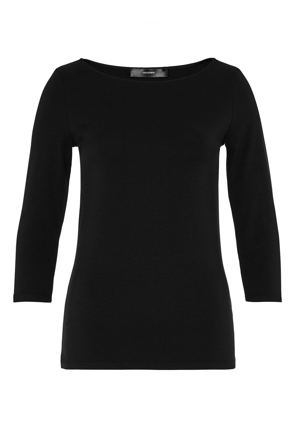 Hallhuber Boat Neck Top With Three-Quarter Sleeves, Black
