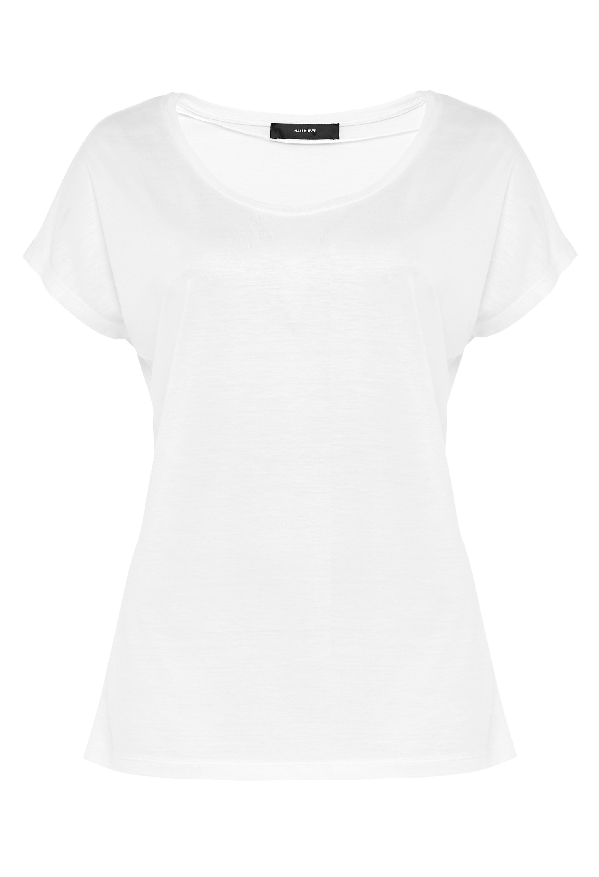 Hallhuber Basic Tee With Plunging Neckline, Off White
