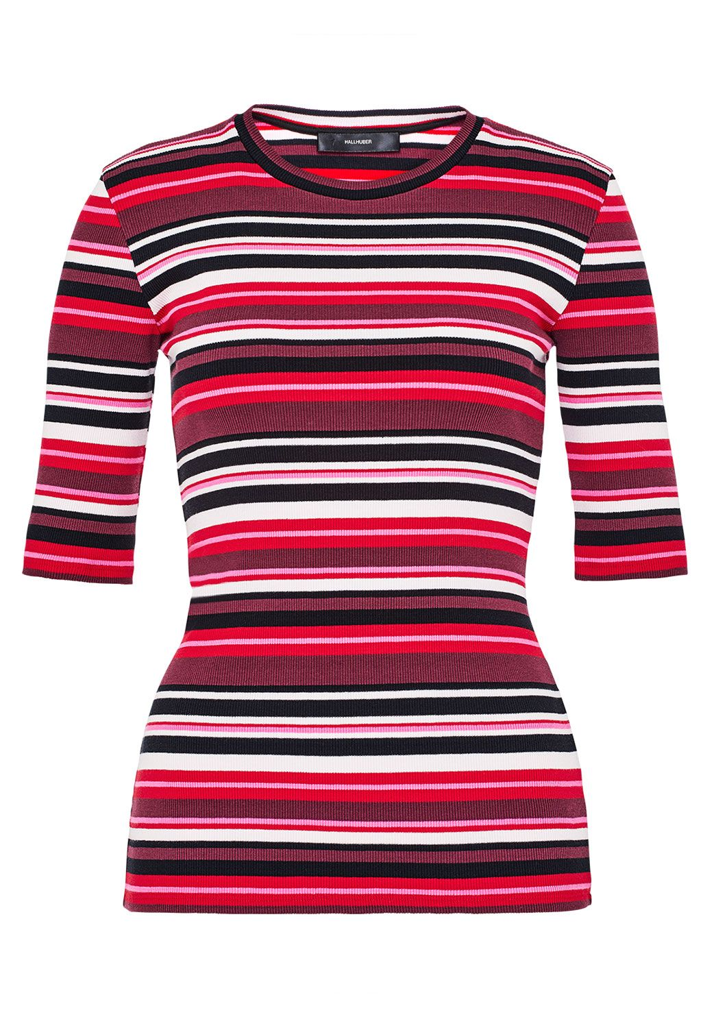 Hallhuber Striped T-Shirt With Rib Texture, Multi-Coloured
