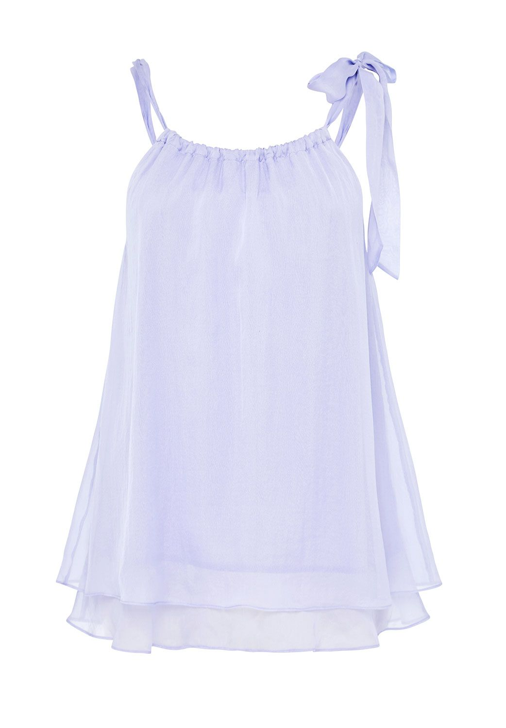 Hallhuber A-Line Top Made Of Silk Chiffon, Lilac