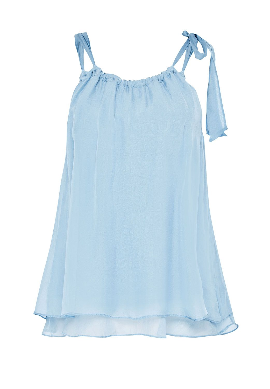Hallhuber A-Line Top Made Of Silk Chiffon, Blue