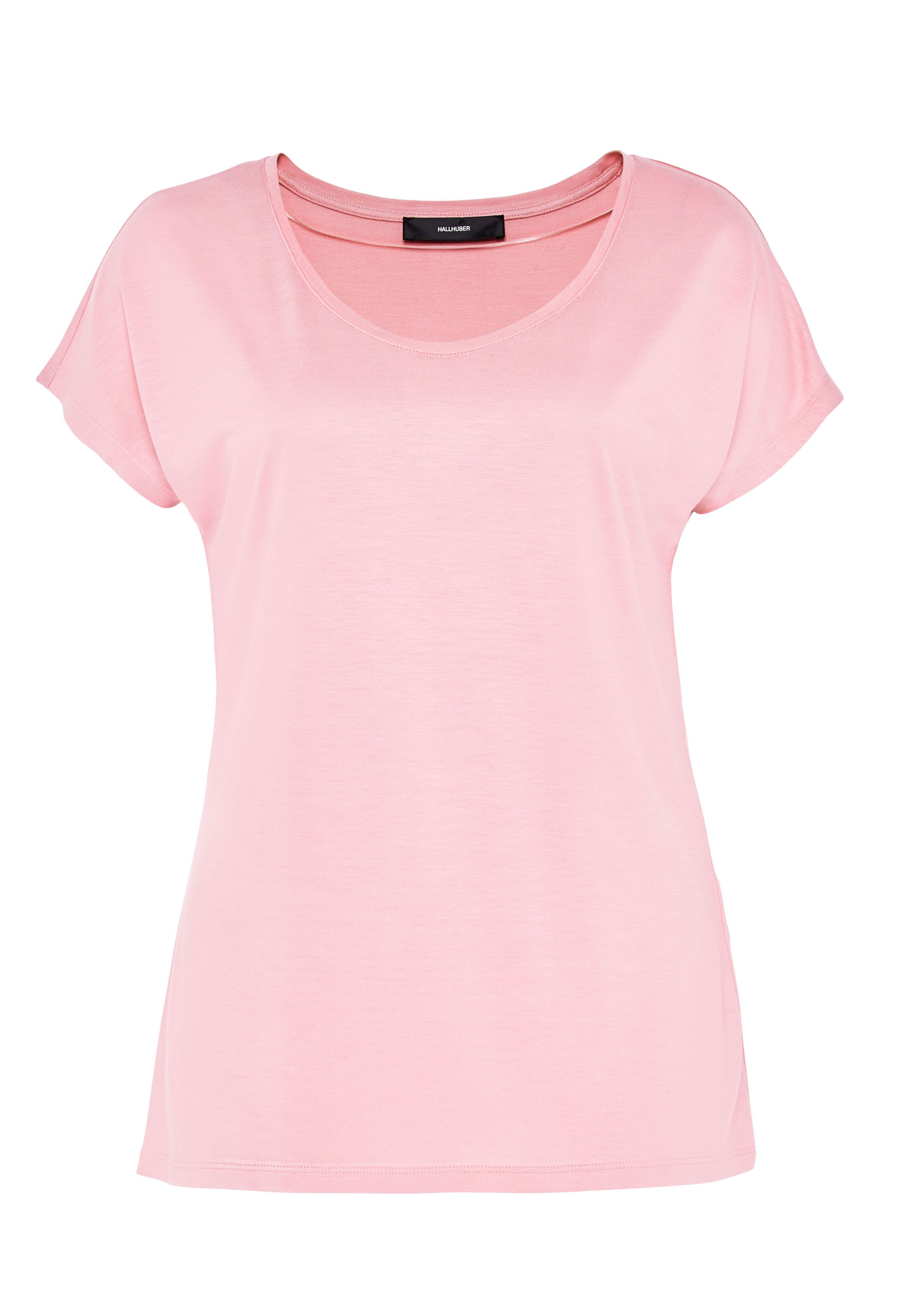 Hallhuber Basic Tee With Plunging Neckline, Pink