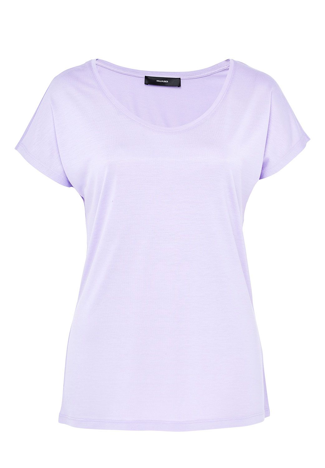 Hallhuber Basic Tee With Plunging Neckline, Lilac