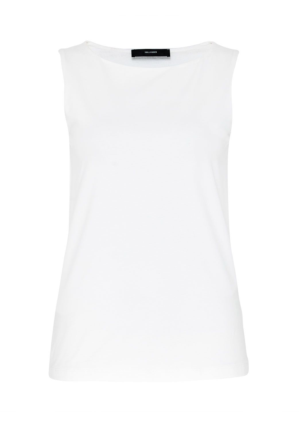 Hallhuber Cotton Top With Boat Neckline, White