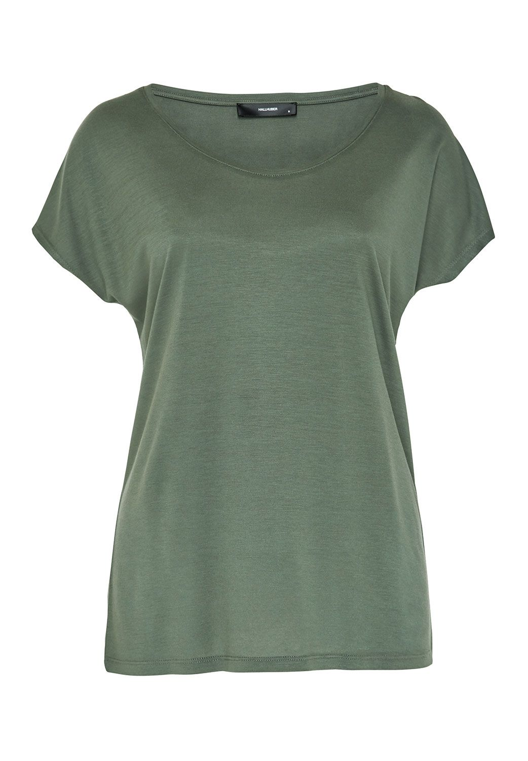 Hallhuber Basic Tee With Plunging Neckline, Green