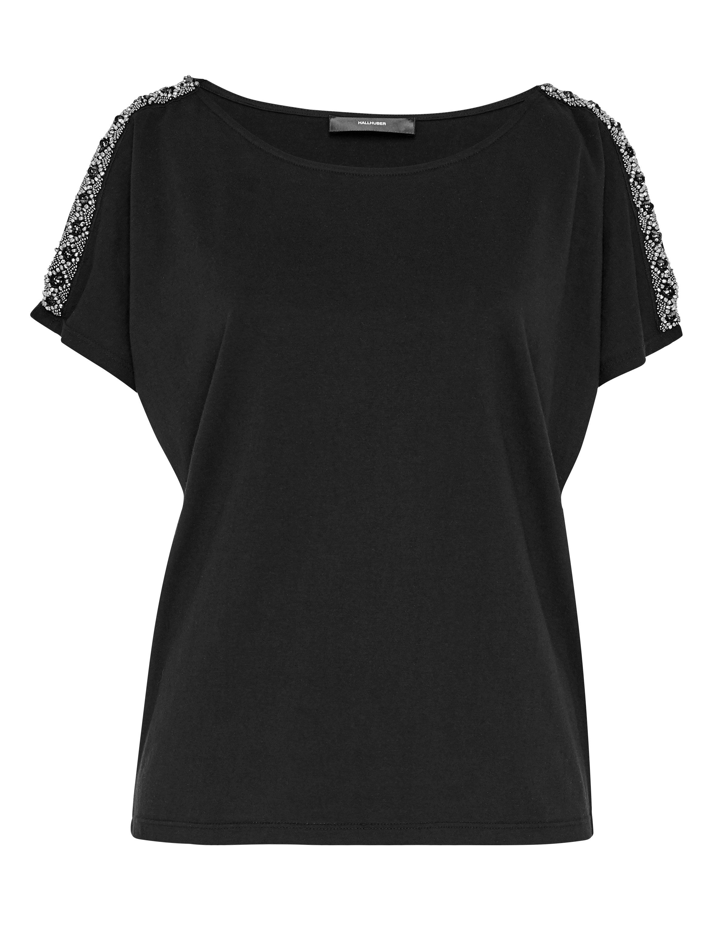 Hallhuber Beaded Cold-Shoulder Blouse, Black
