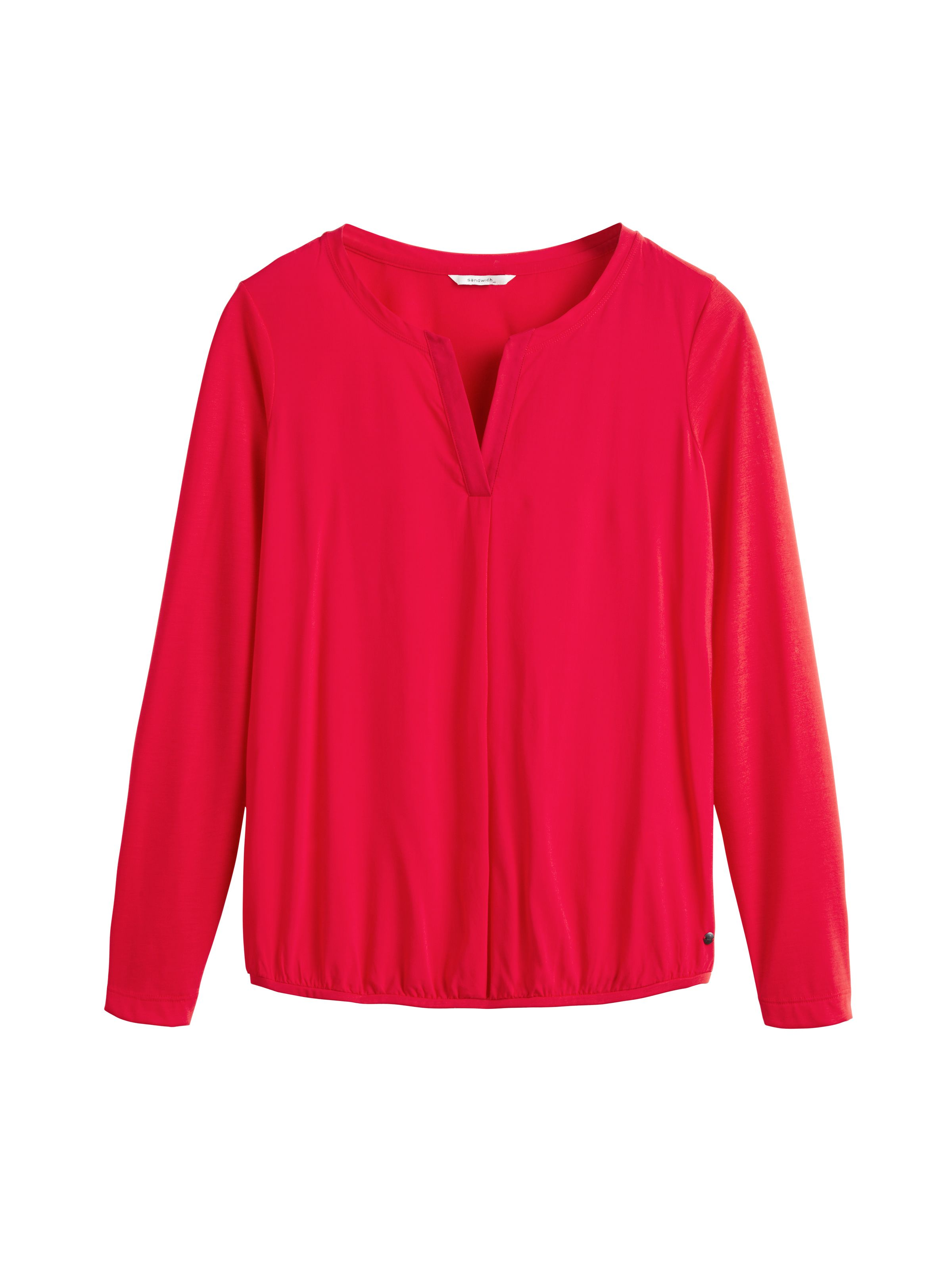 Sandwich Silky panel long sleeve jersey top, Red