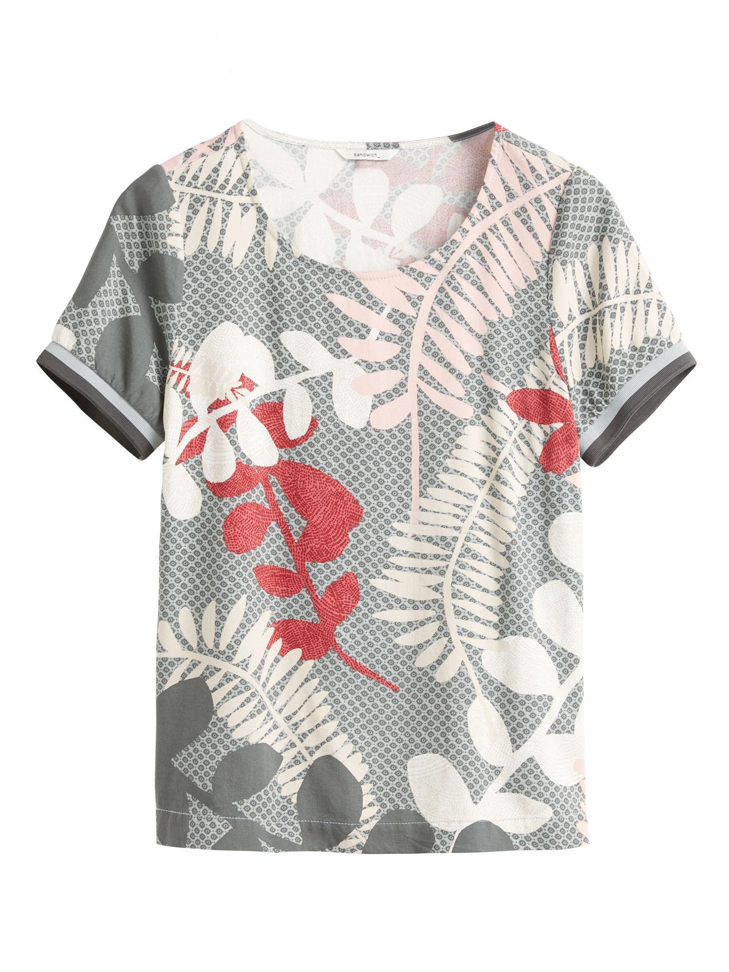 Sandwich Branch leaves print top, Grey