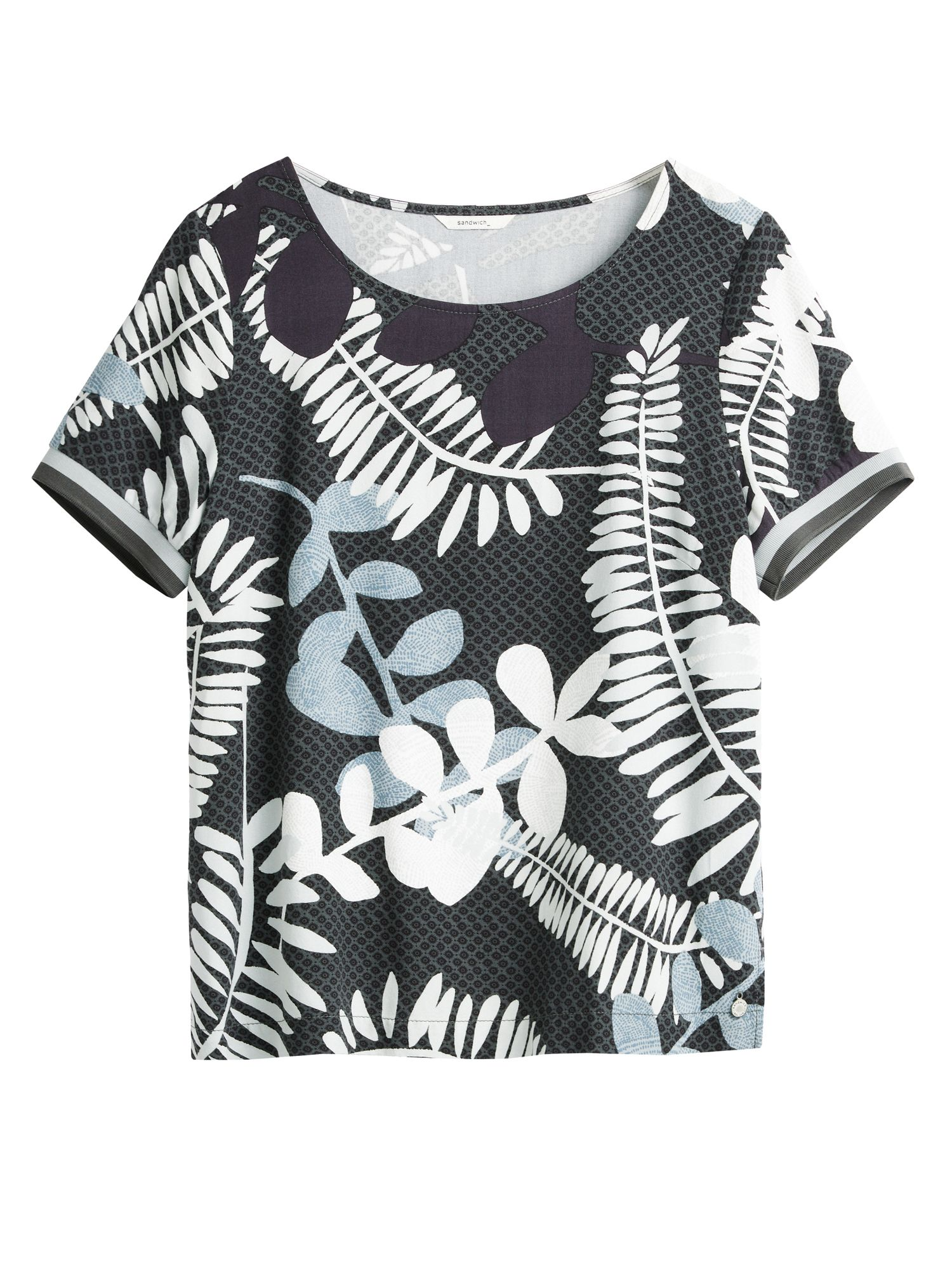 Sandwich Branch leaves print top, Charcoal