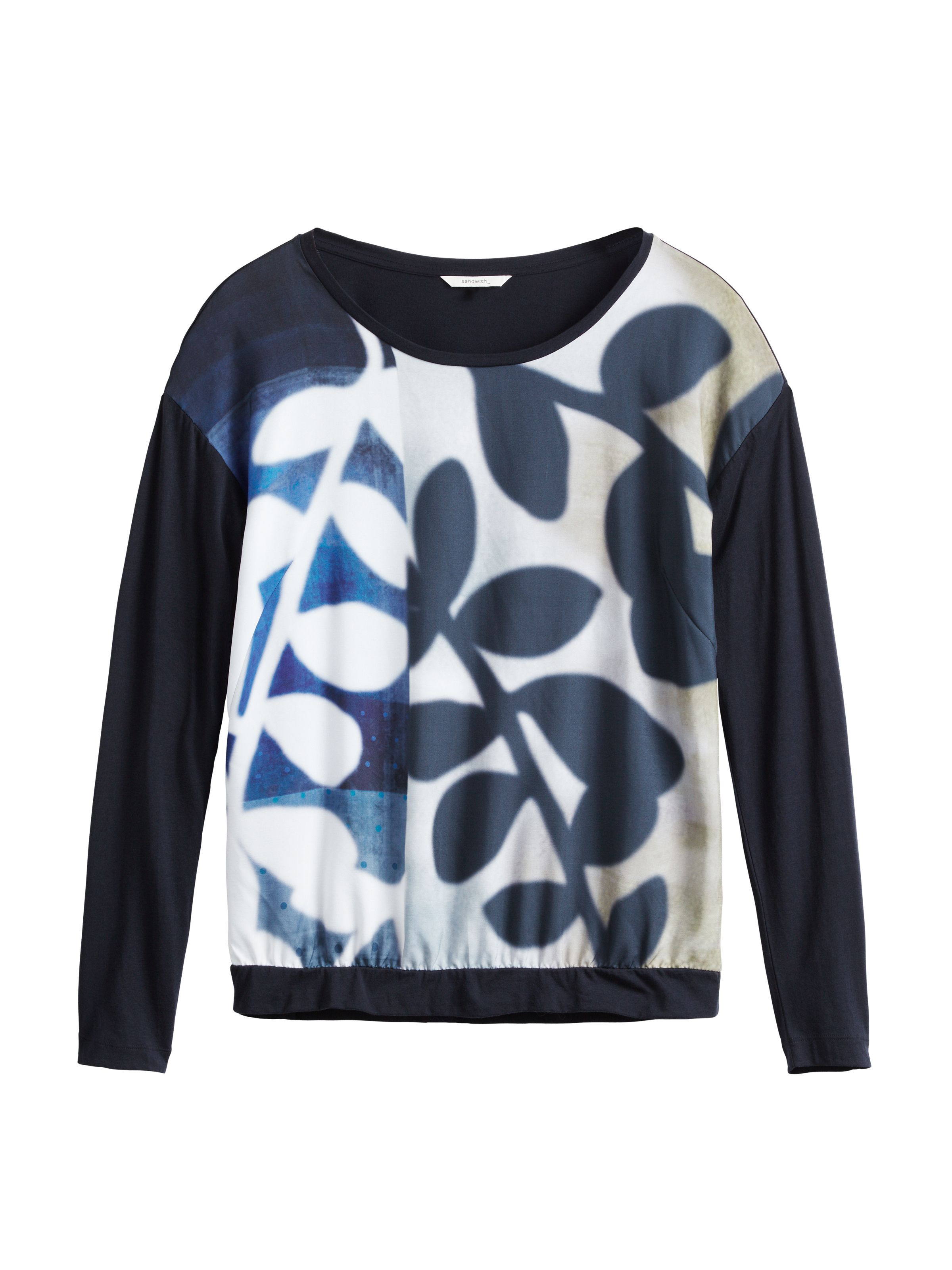Sandwich Autumn leaves print top, Blue
