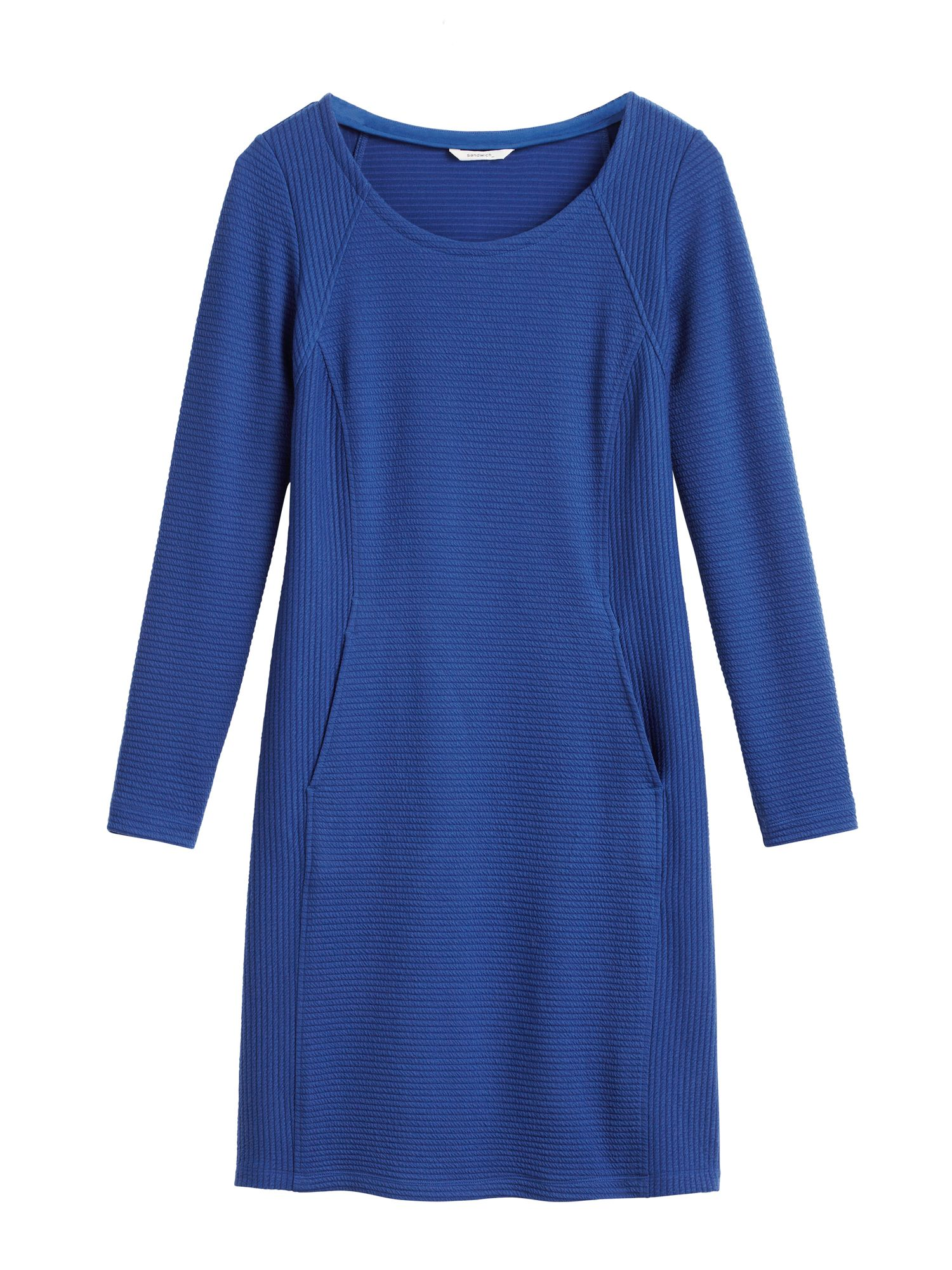 Sandwich Textured dress with front pockets, Blue