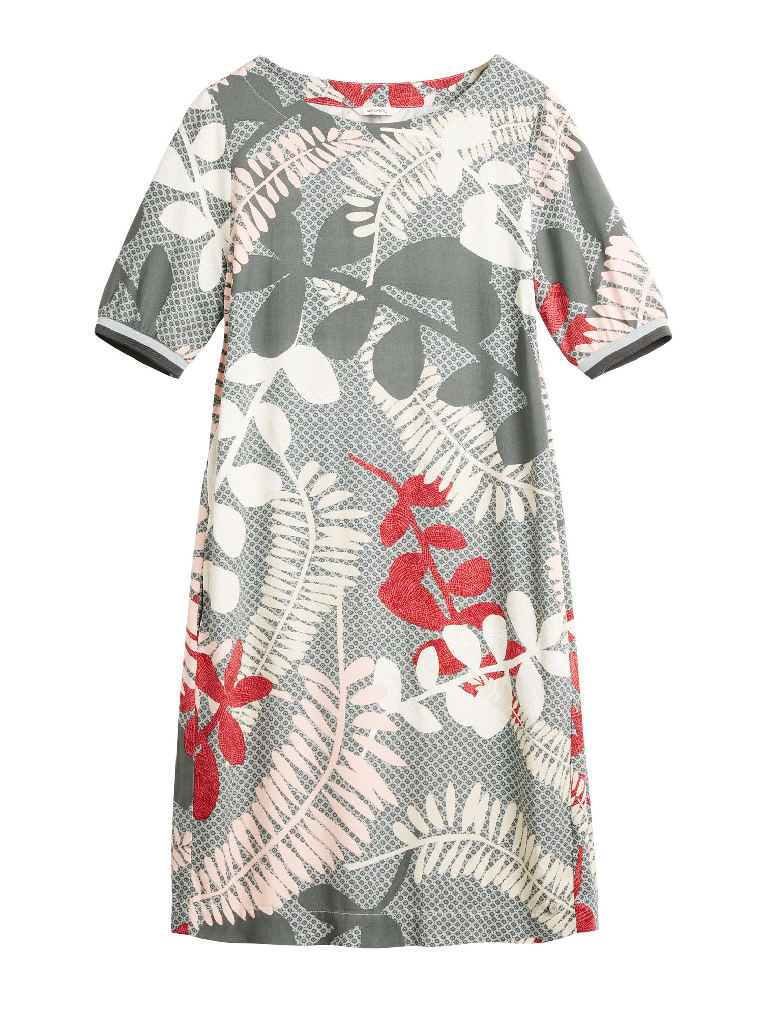 Sandwich Branch leaves print dress, Grey