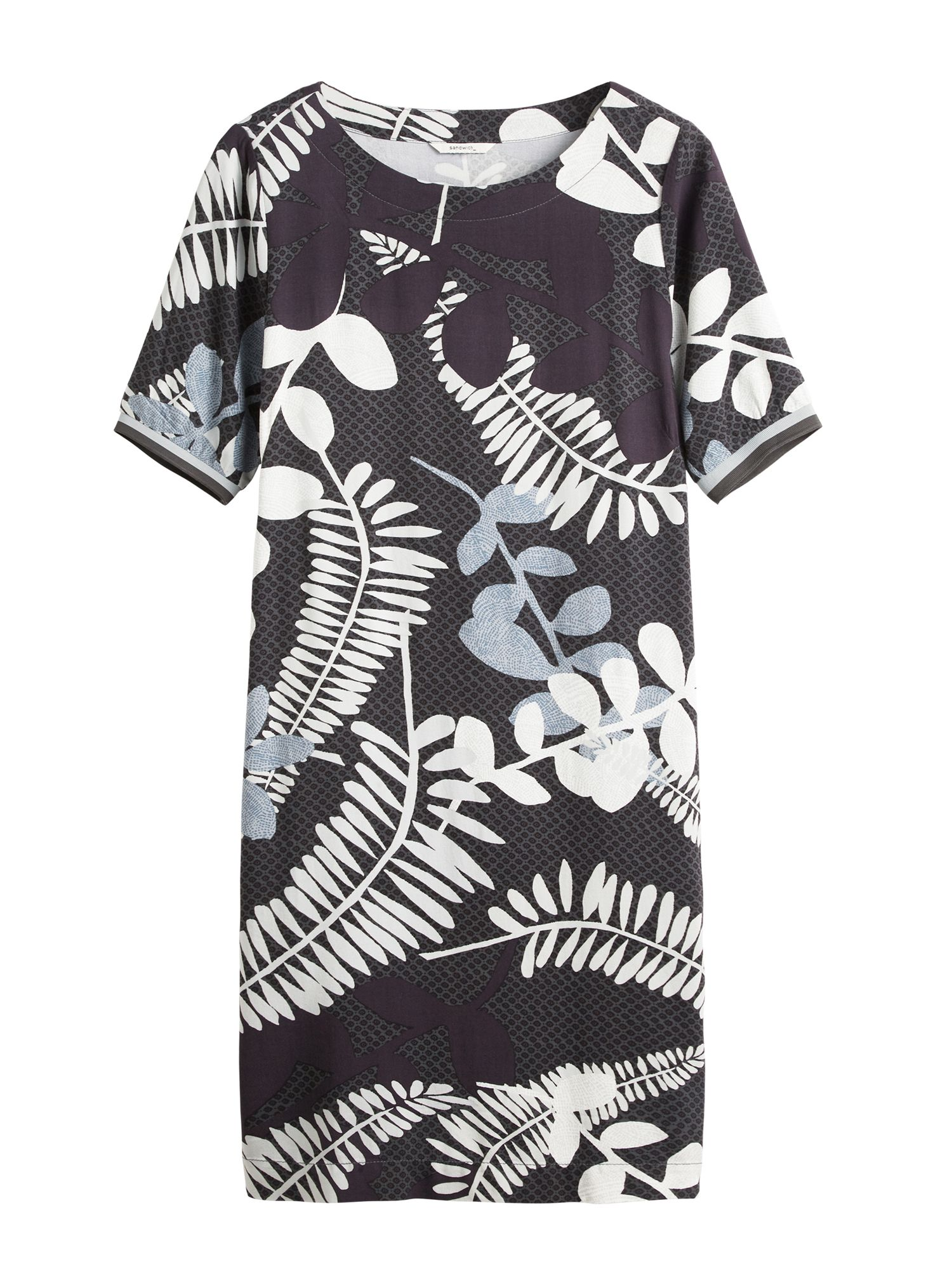 Sandwich Branch leaves print dress, Charcoal