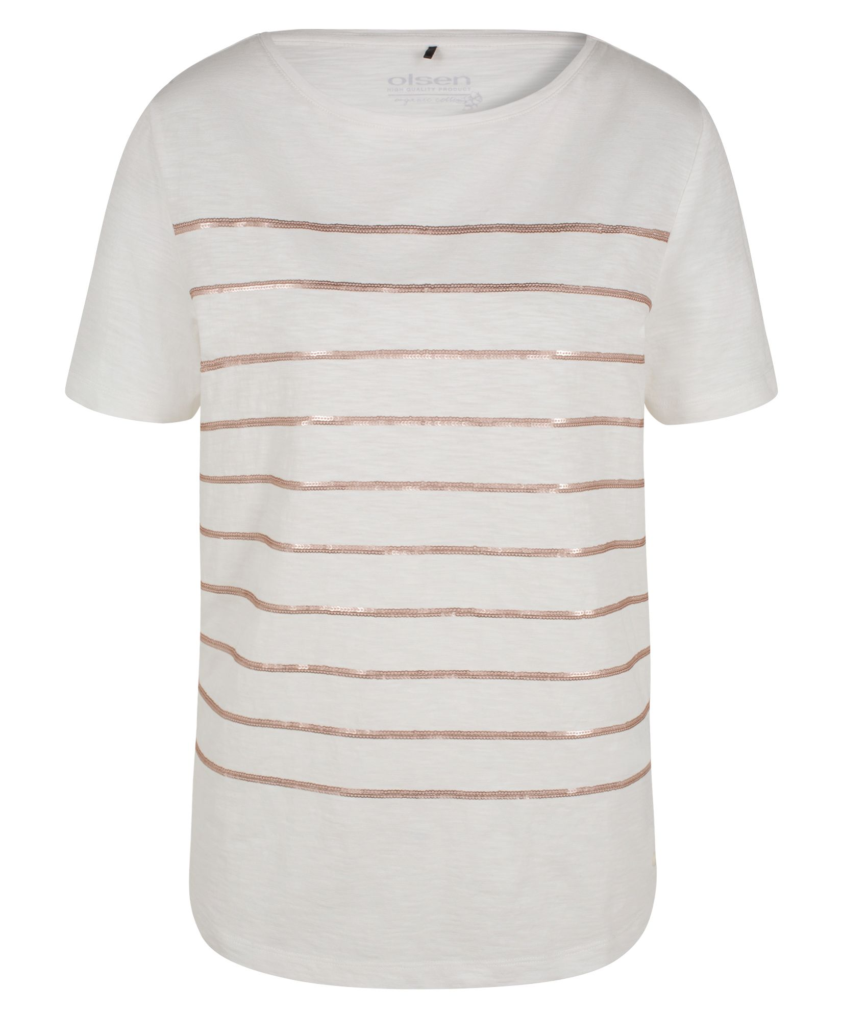 Olsen Sequin stripe T-shirt, White