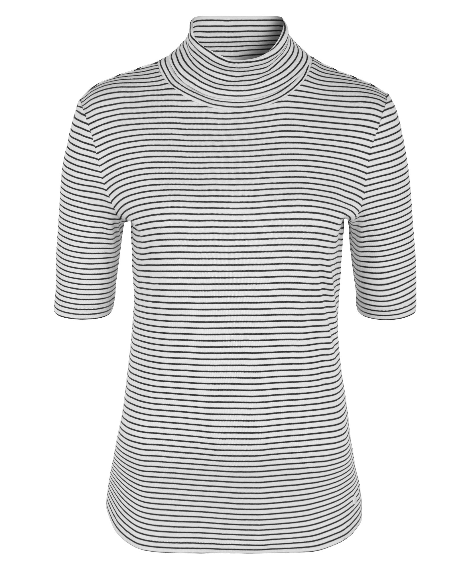 Olsen Stripe roll neck T-shirt, White