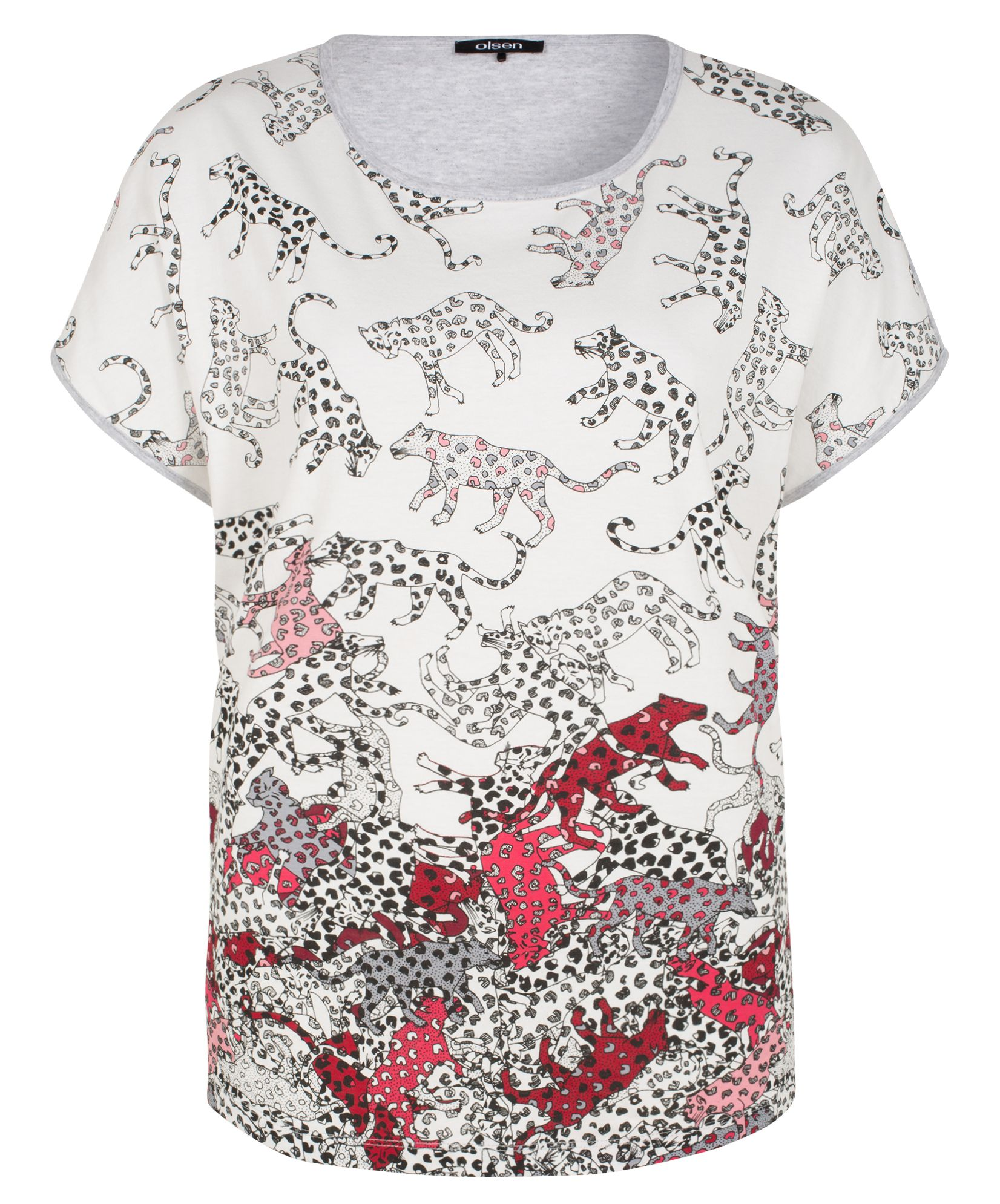 Olsen Cheetah print T-shirt, White