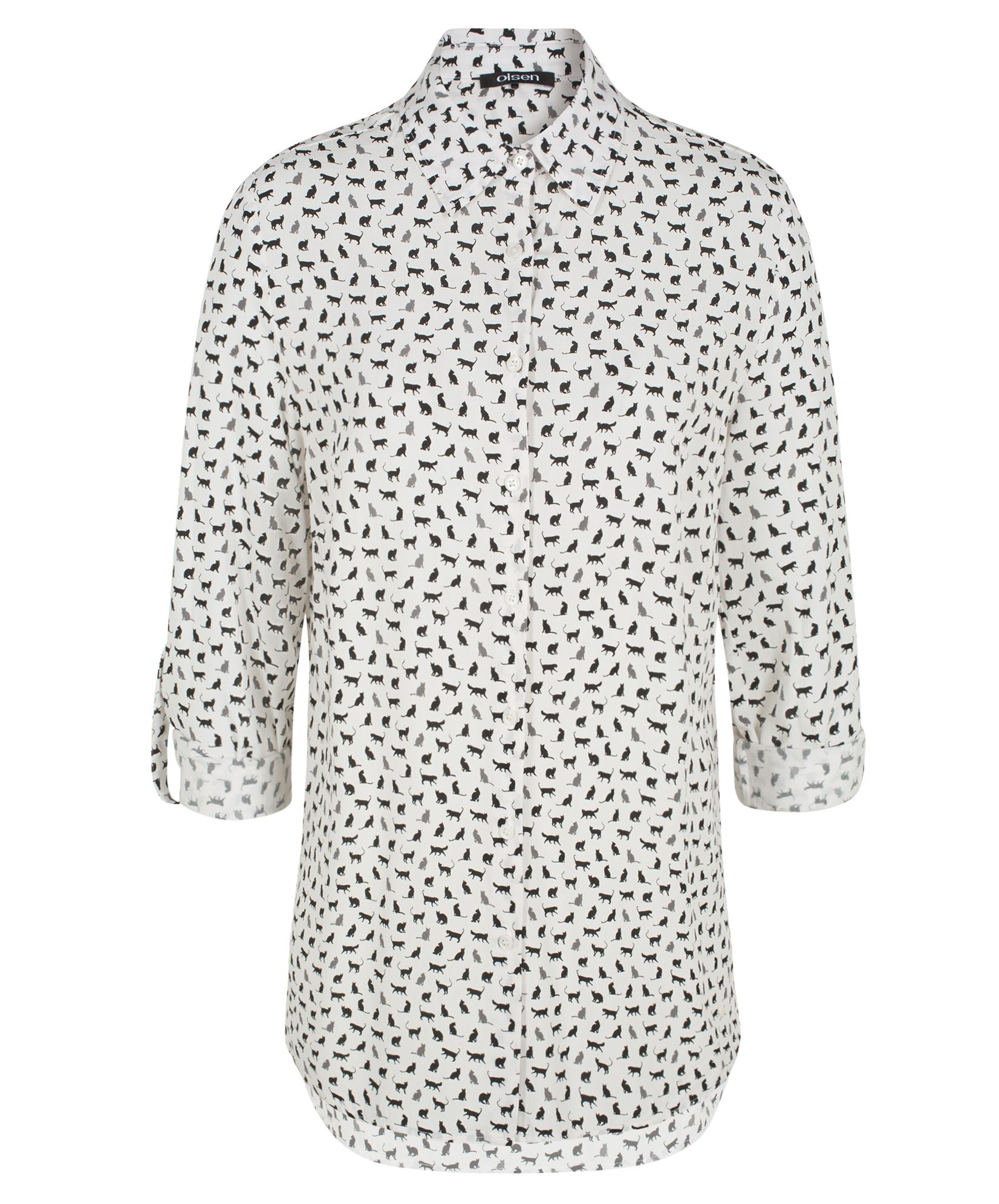 Olsen Cat print shirt, White