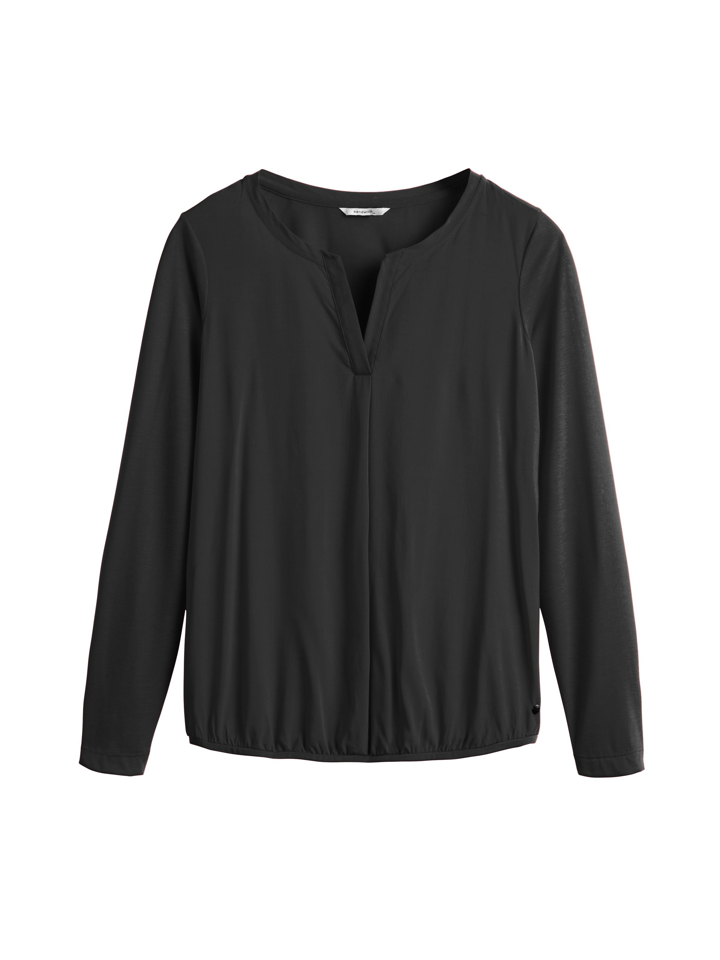 Sandwich Silky panel long sleeve jersey top, Black