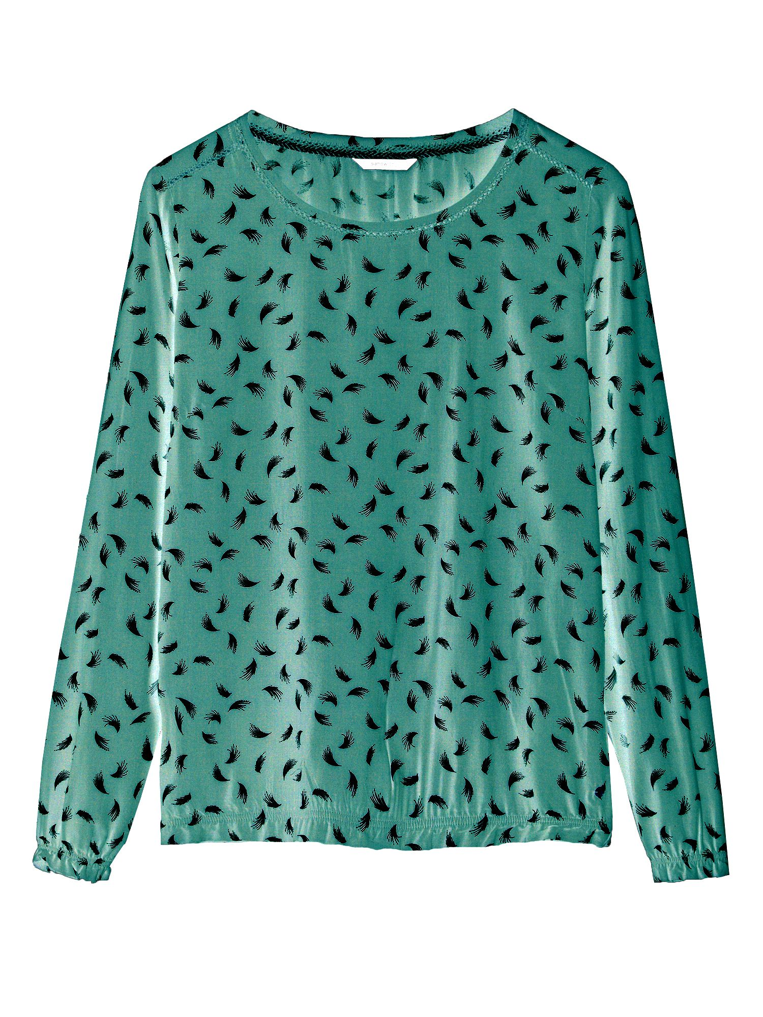 Sandwich Feather print blouse with hem detail, Green