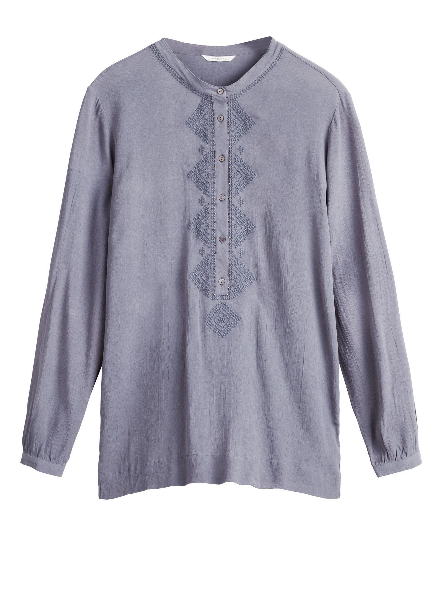 Sandwich Embroidered Blouse, Grey