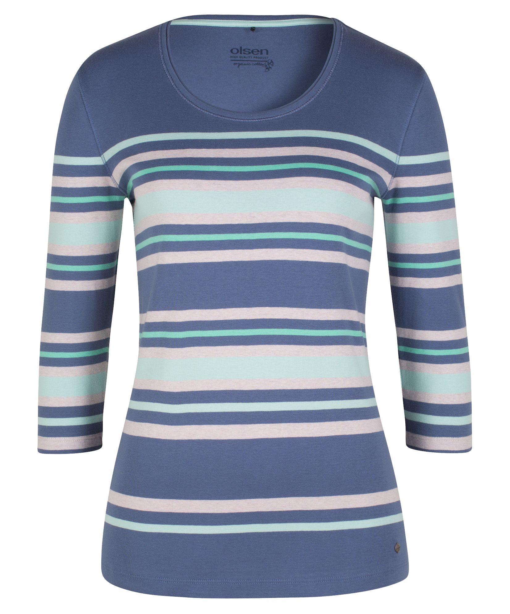 Olsen T-Shirt Multicolour Stripes, Denim