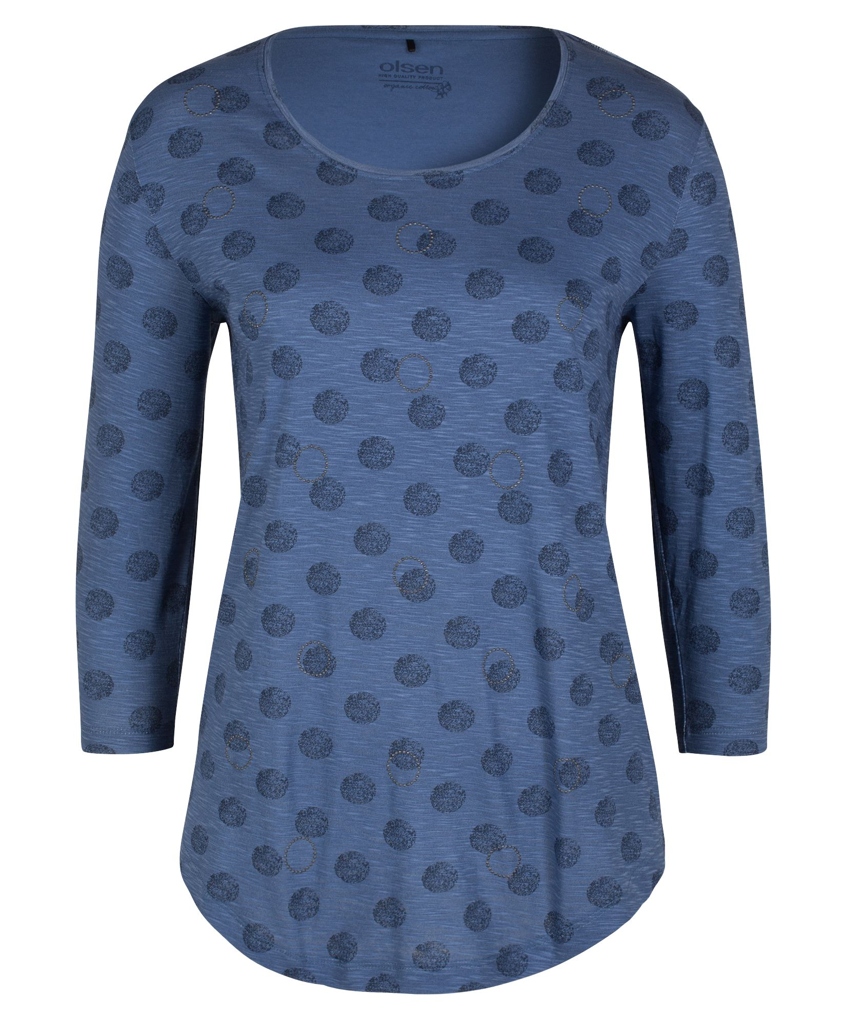 Olsen T-Shirt Circle Allover Print, Denim