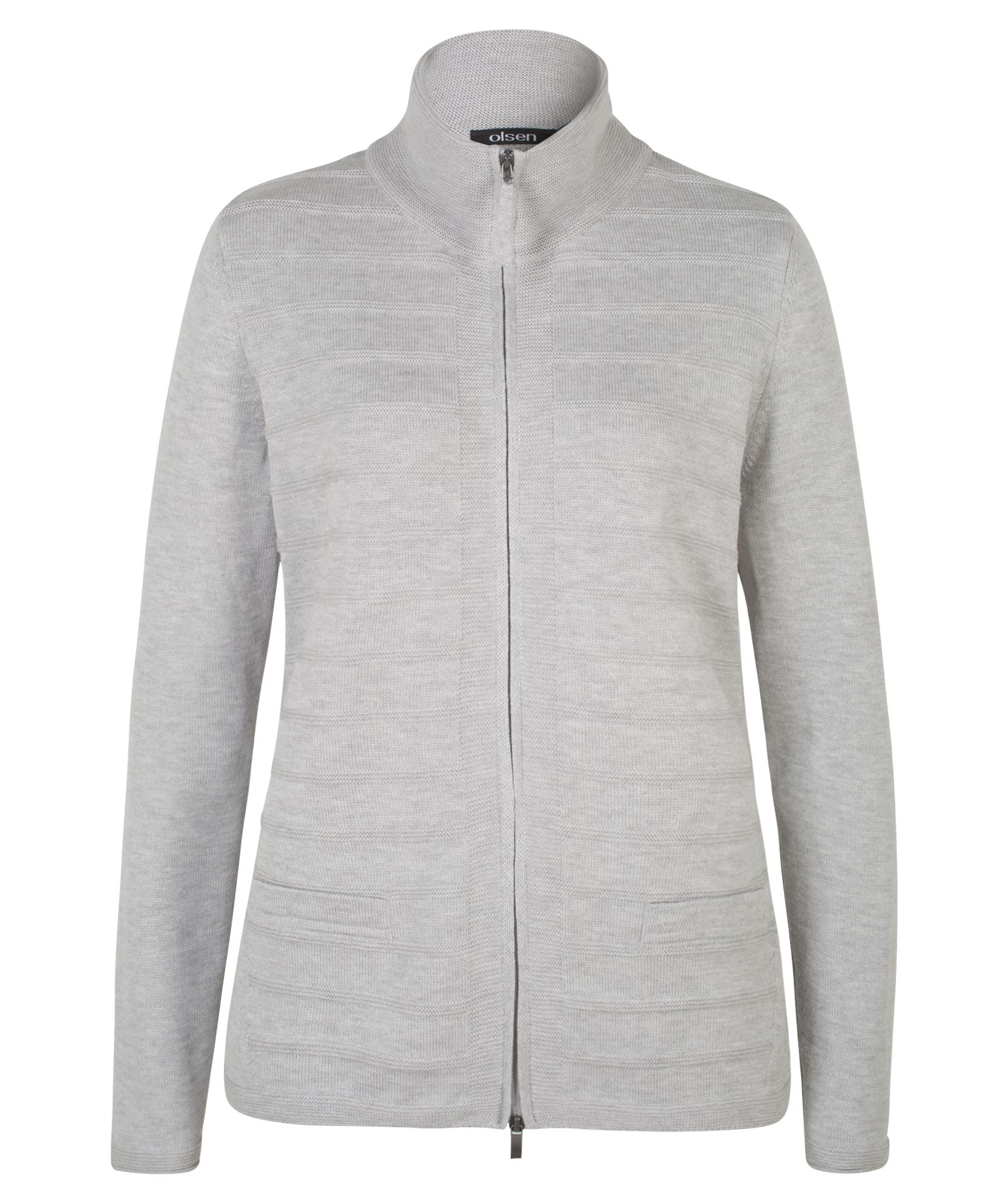 Olsen Cardigan With Zipper, Silver Marl