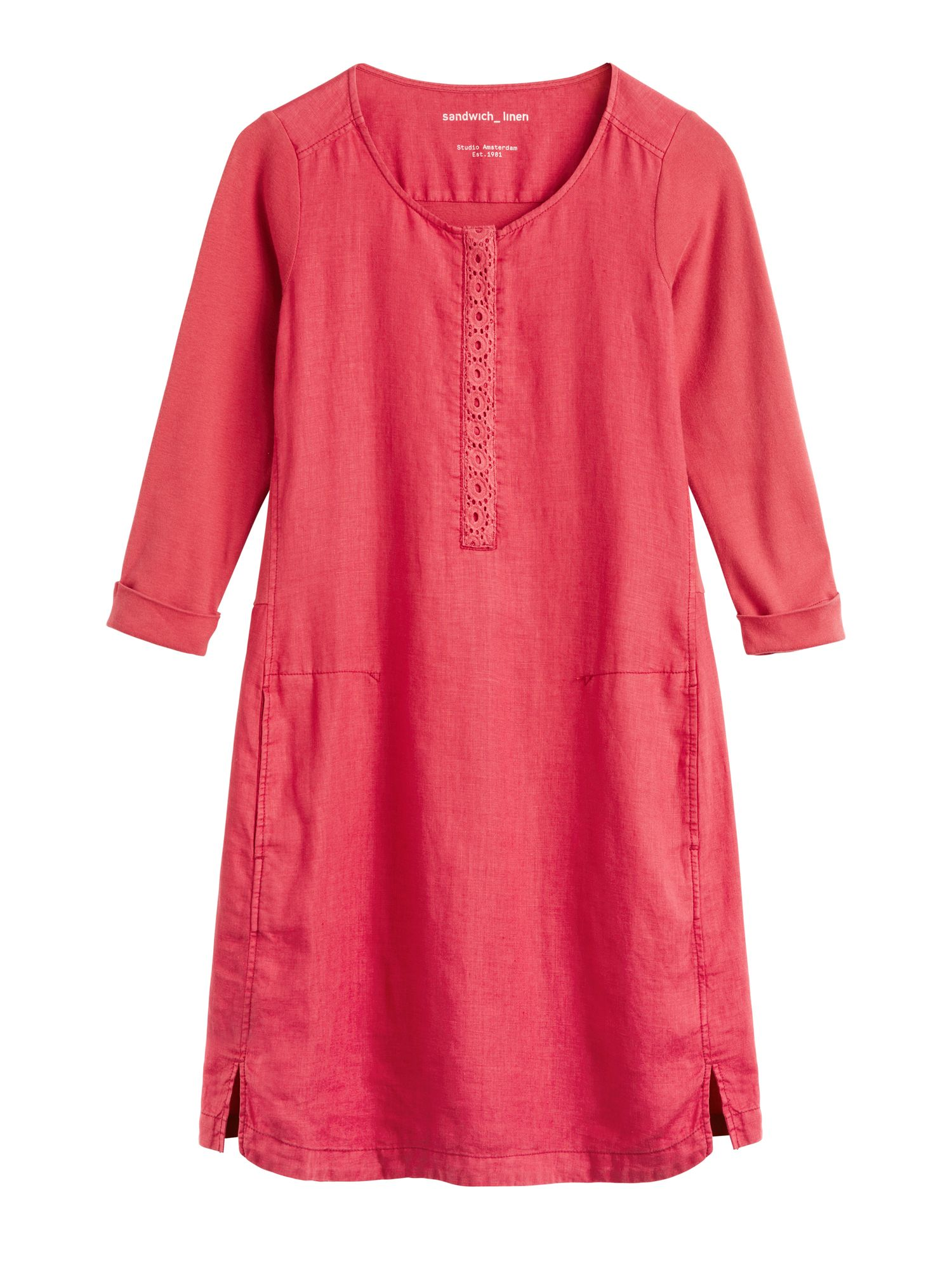 Sandwich Linen Dress With Broderie Anglaise Detail, Blood Red
