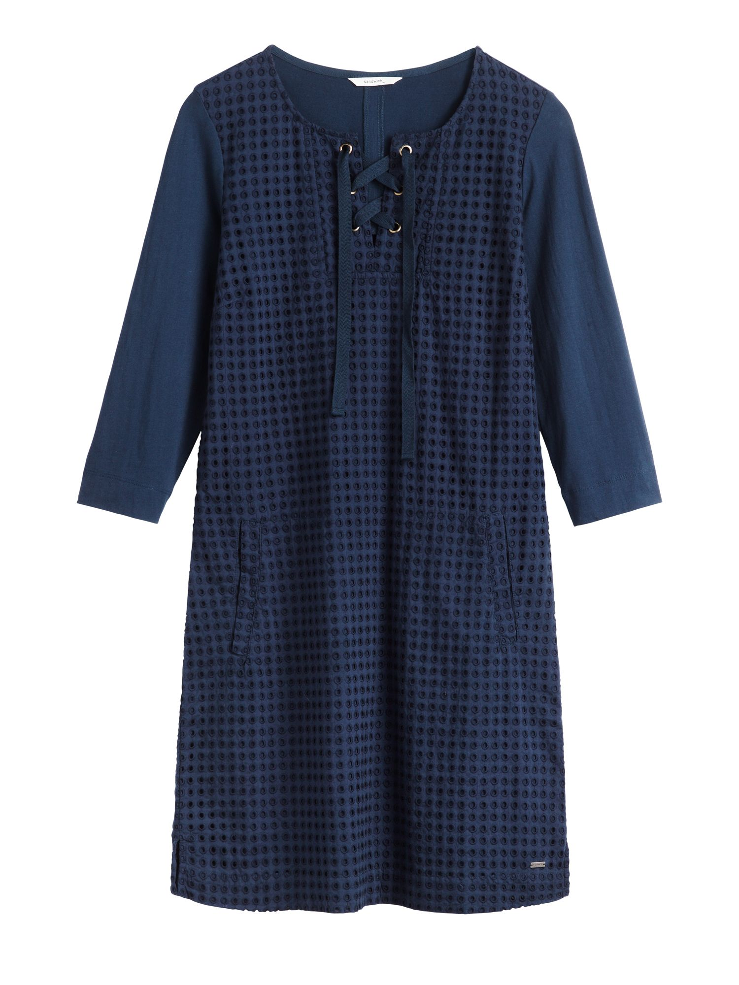 Sandwich 34 Sleeves Broderie Anglaise Dress, Blue