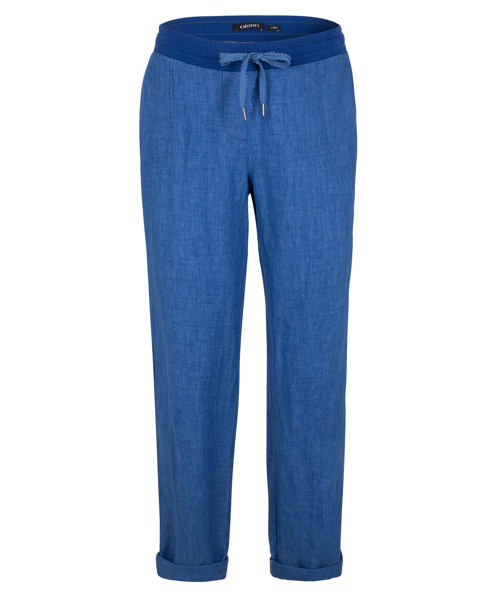 Olsen Trousers Casual Cropped, Cobalt