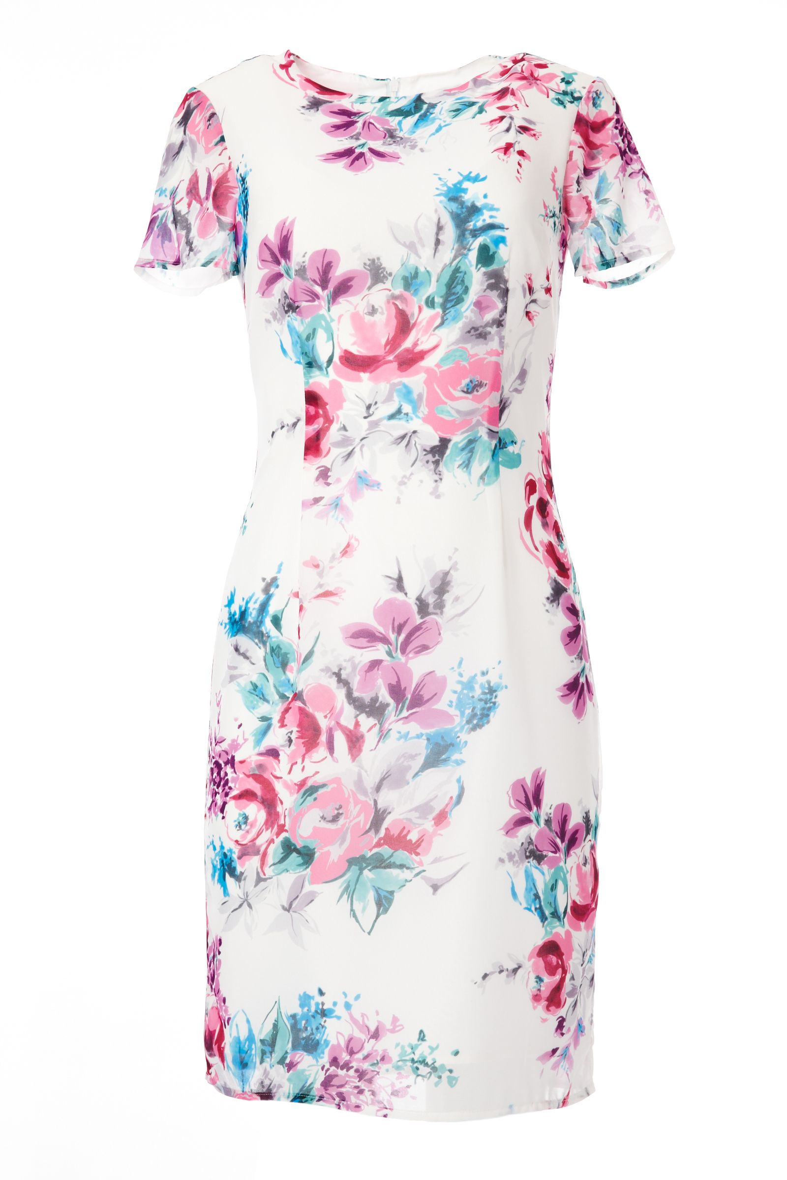 Carolina Cavour Kneelength Chiffon Flower Print Dress, Multi-Coloured