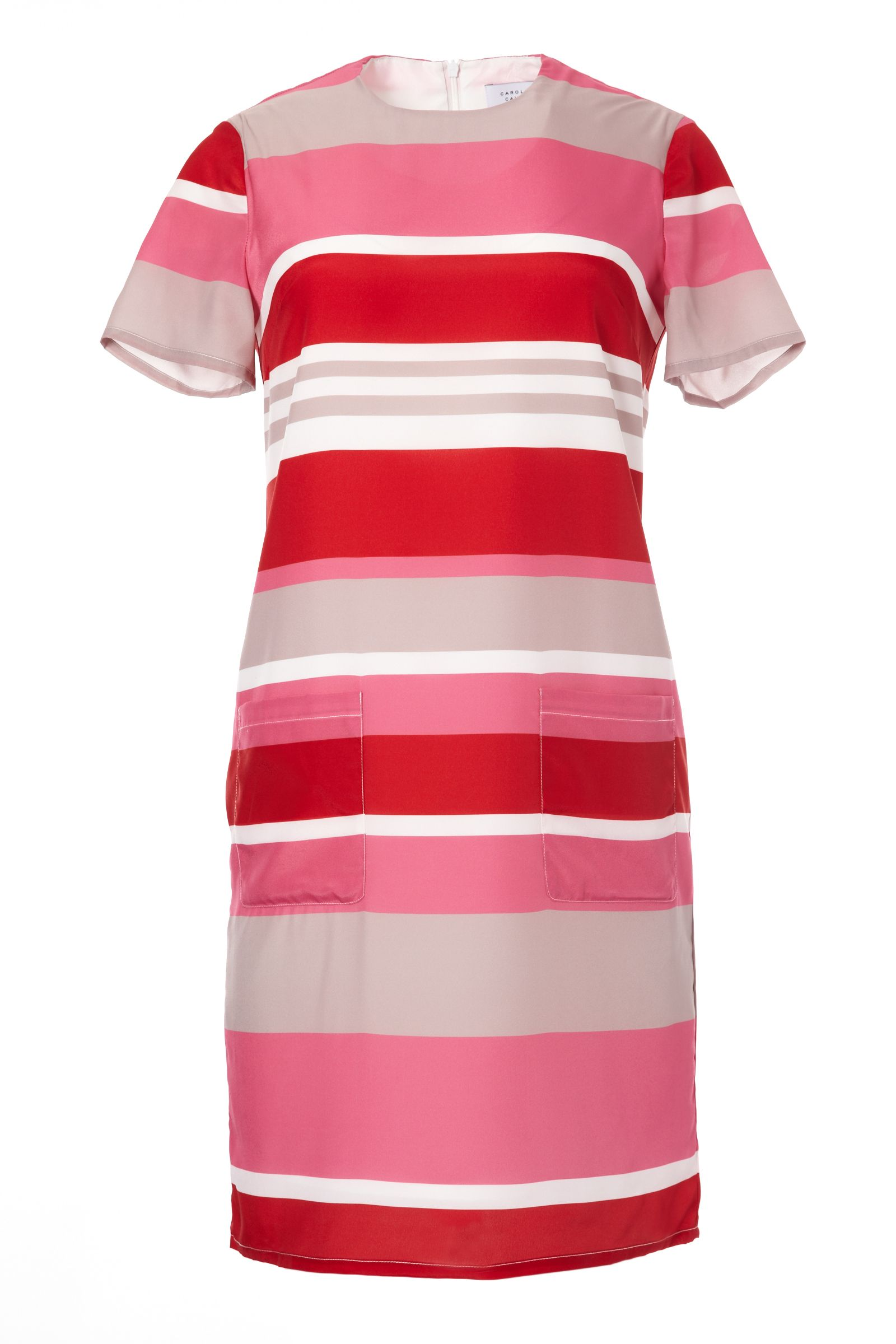 Carolina Cavour Kneelength Loose Fitting Striped Dress, Red