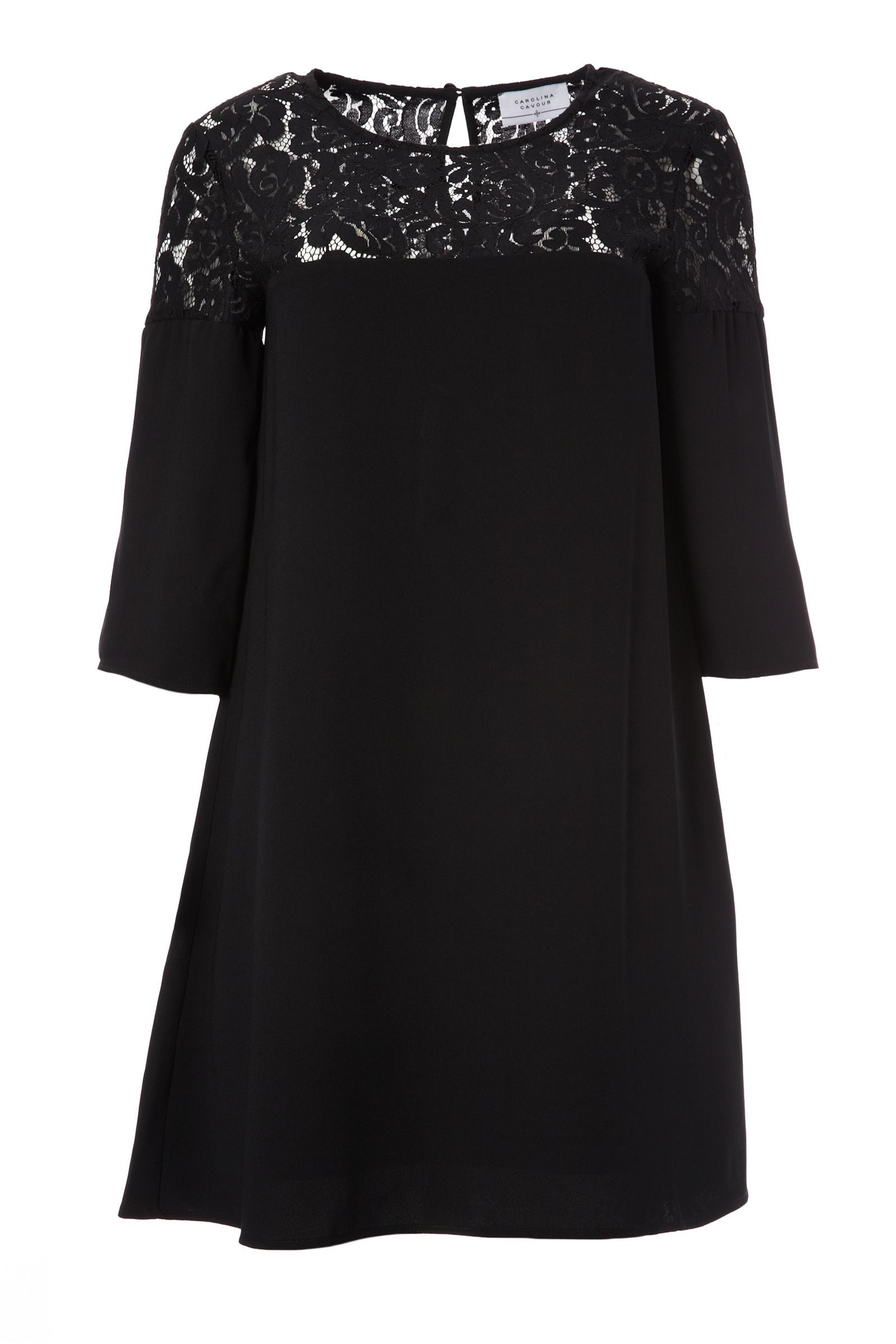 Carolina Cavour 3/4 Length Sleeve Dress, Black