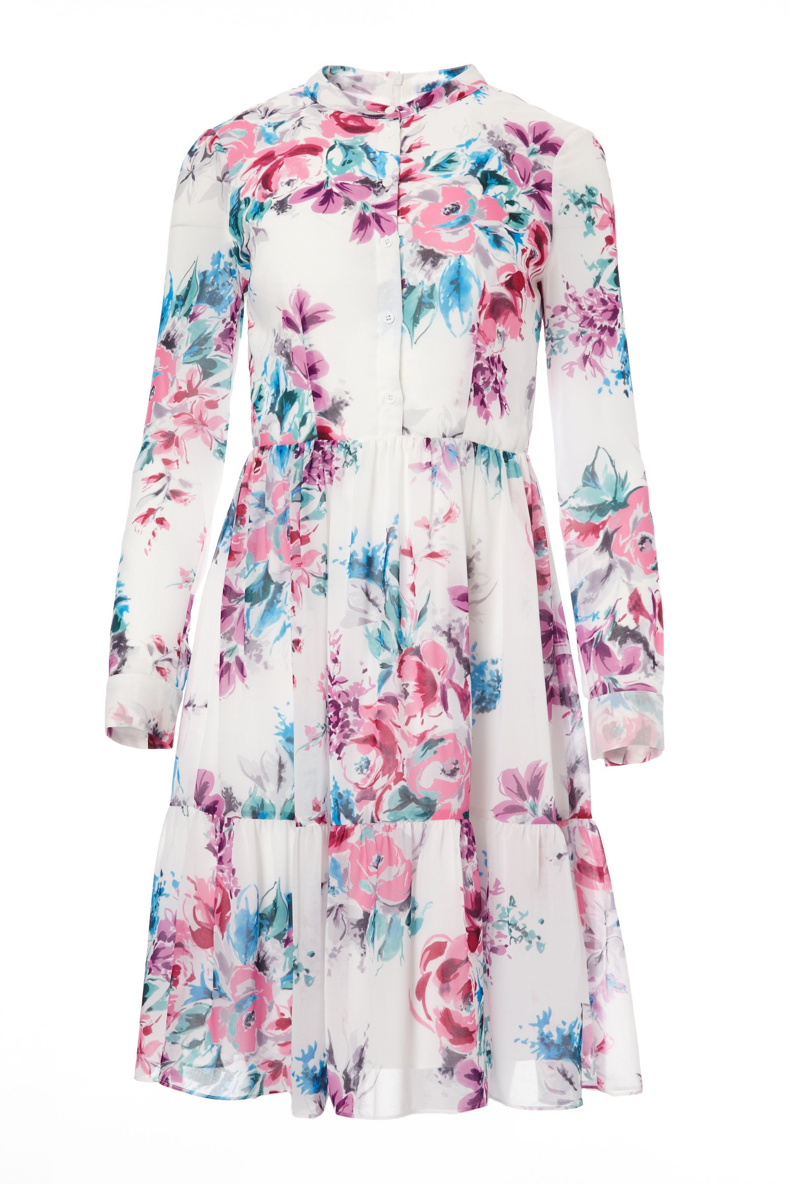 Carolina Cavour Retro Flowy Longsleeve Dress, Multi-Coloured
