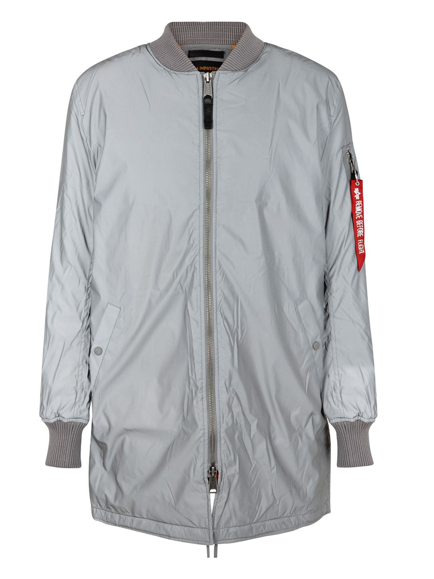 Alpha Industries Men's Alpha Industries MA-1 Reflective Extra Length Coat, Grey