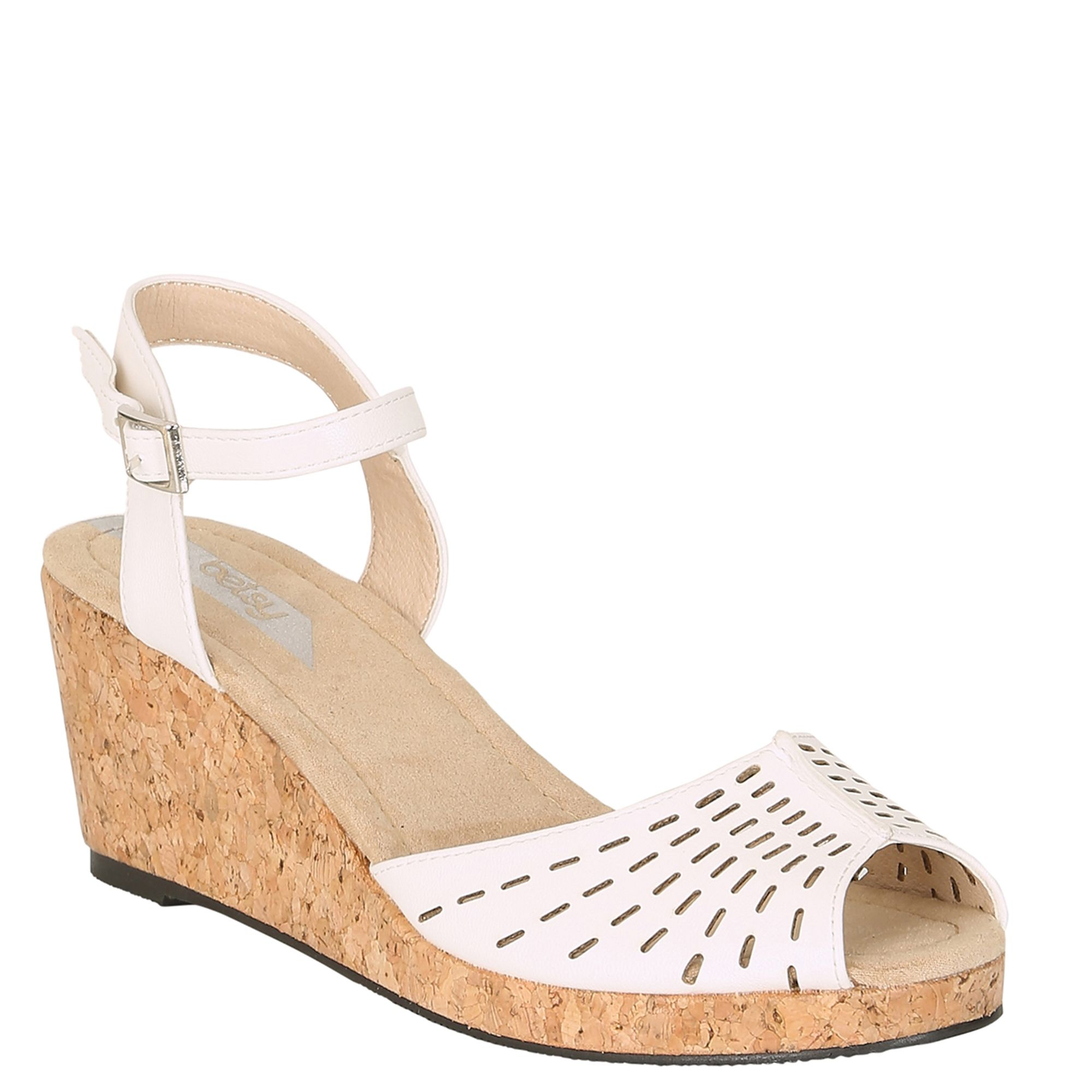 Betsy Betsy Peep Toe Cut Out Wedge, White