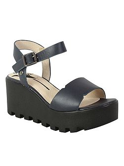 Cleated platform wedge sandal