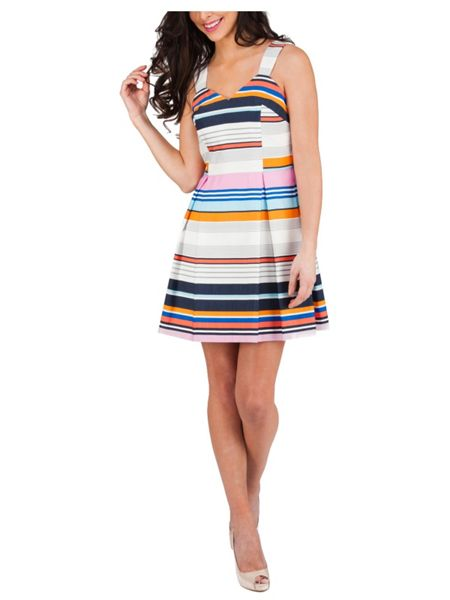 Jane Norman Assorted Stripe Engineered Prom Dress