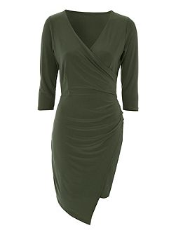 Khaki Wrap Detail V Neck Dress