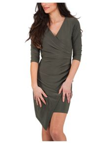 Jane Norman Khaki Wrap Detail V Neck Dress
