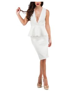Jane Norman Cream Deep V Peplum Textured Dress